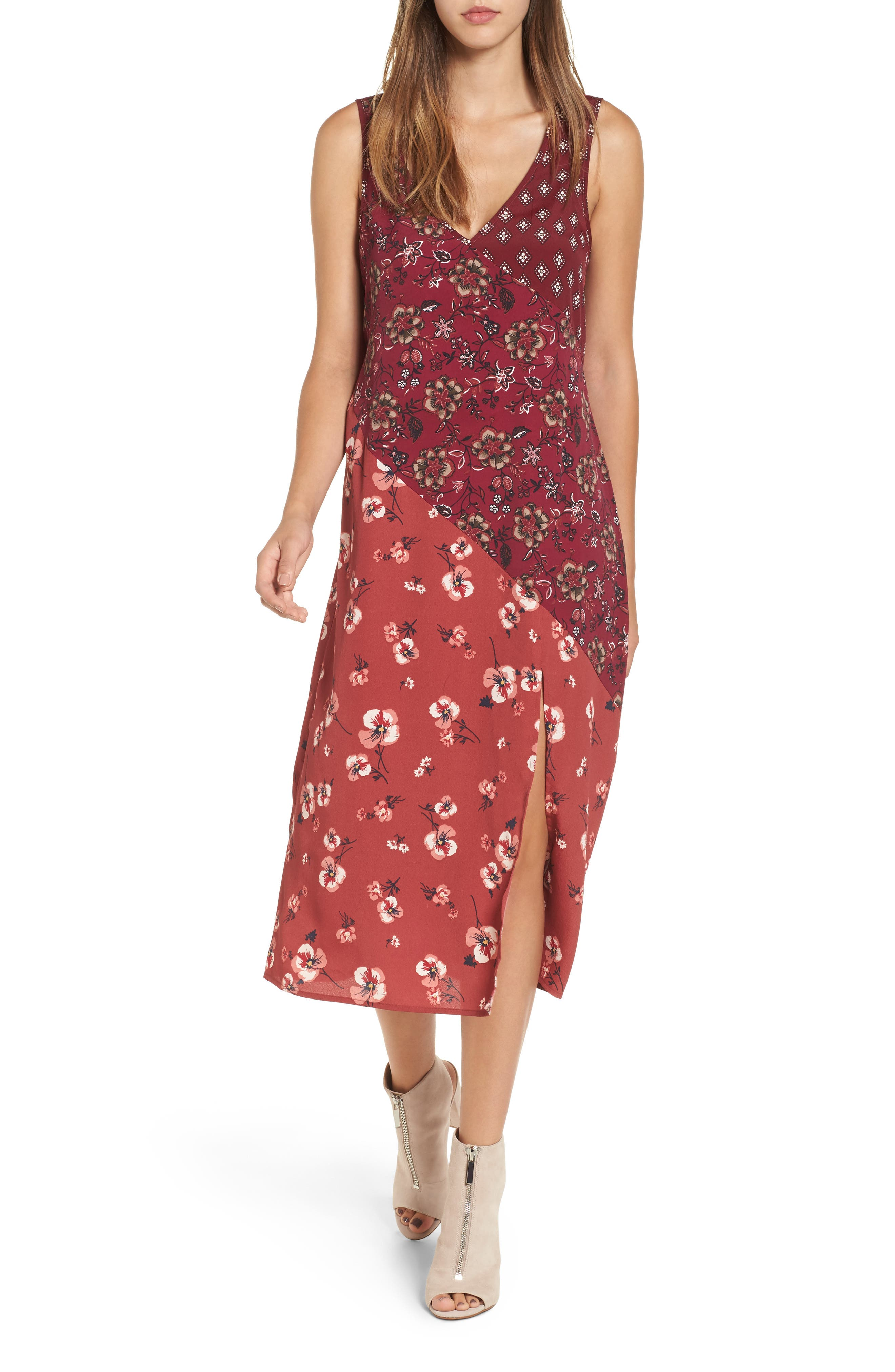 Band of Gypsies Mix Print Midi Dress
