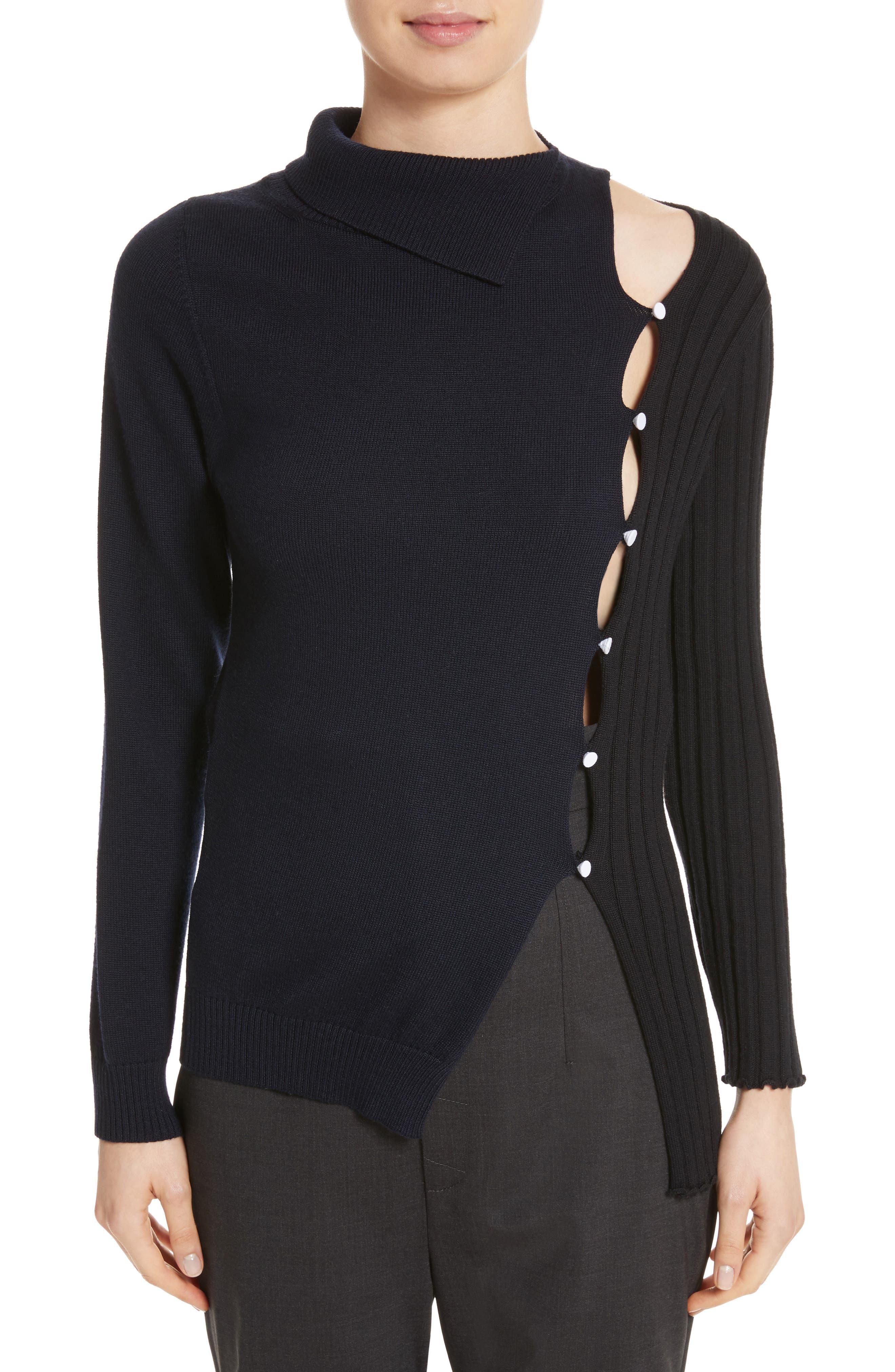 Asymmetrical Button Front Turtleneck Sweater,                         Main,                         color, Black Navy