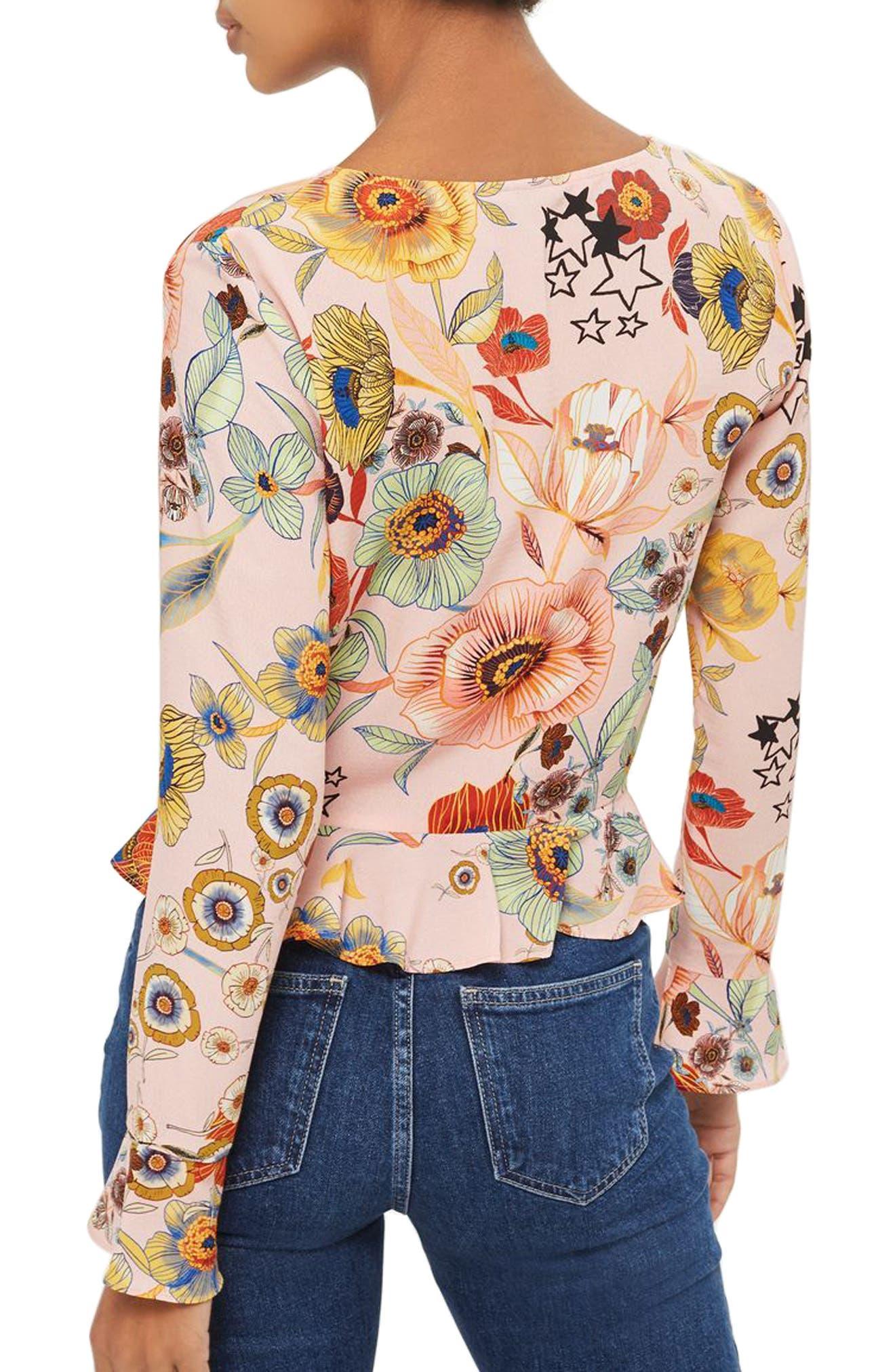 Alternate Image 3  - Topshop Star & Floral Print Ruched Blouse