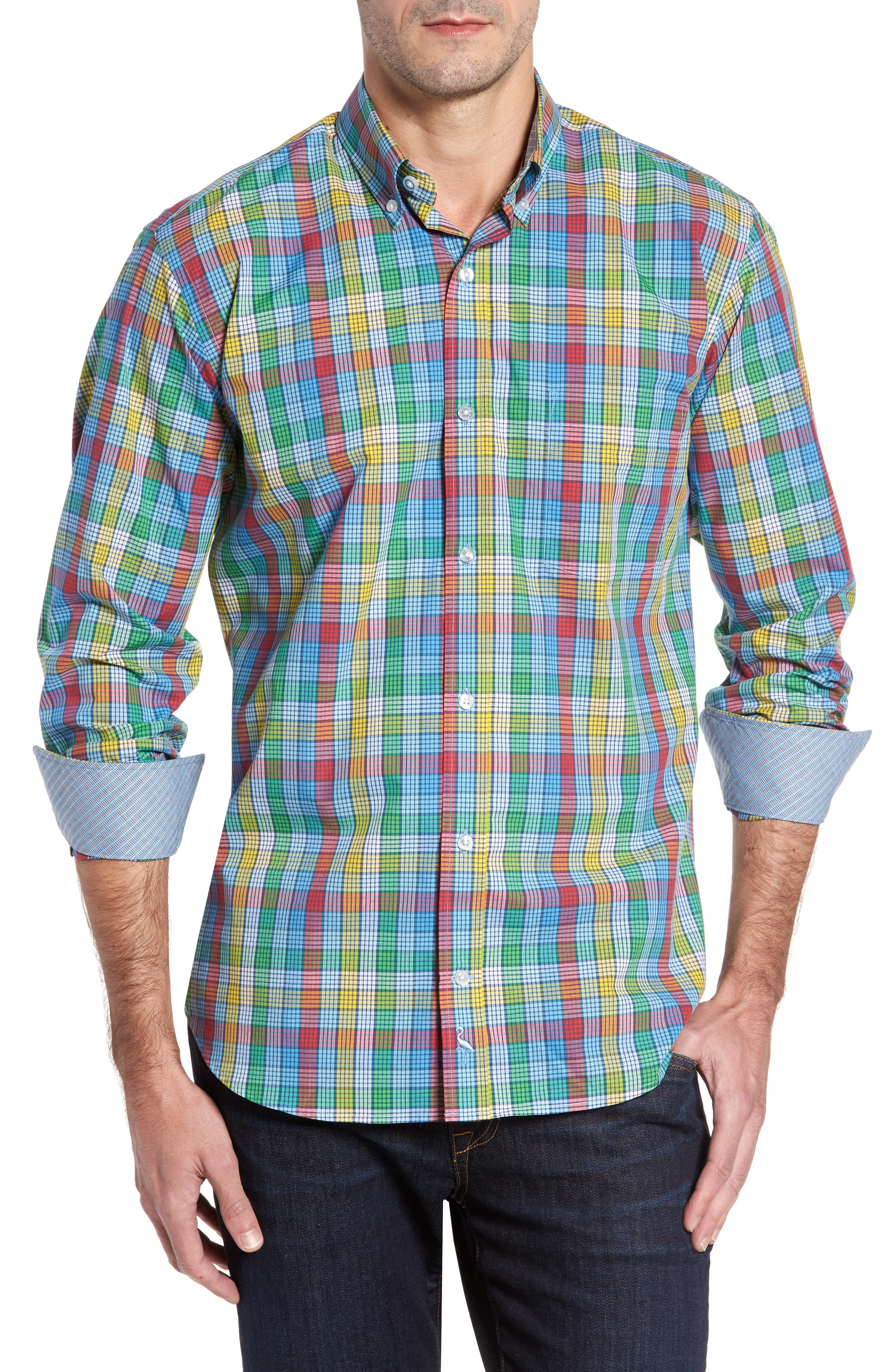 Belmont Check Sport Shirt,                         Main,                         color, Yellow