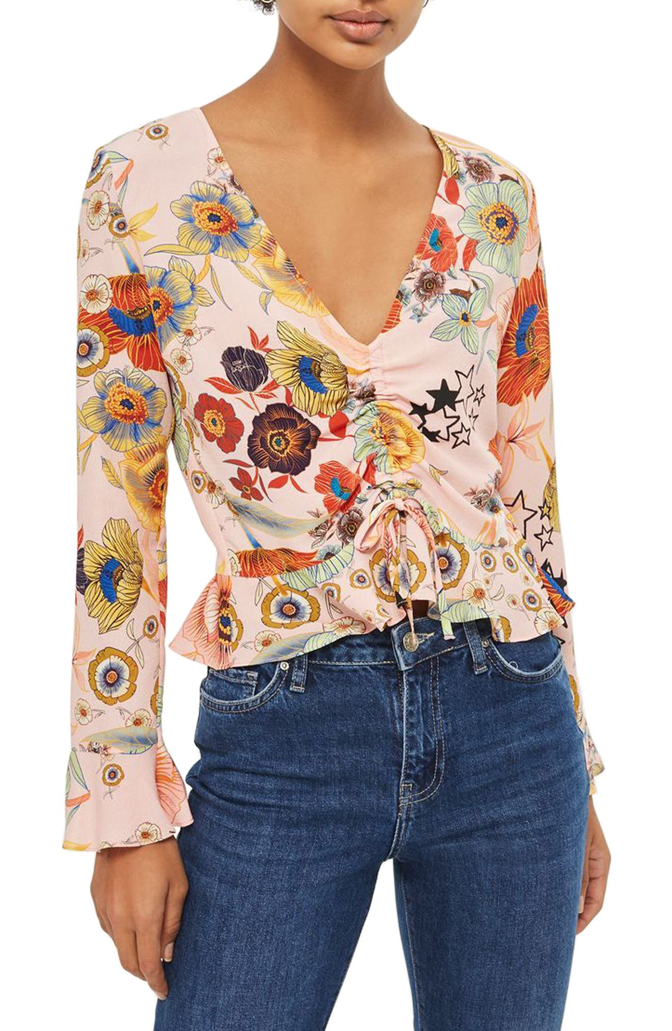 Star & Floral Print Ruched Blouse,                         Main,                         color, Blush Multi