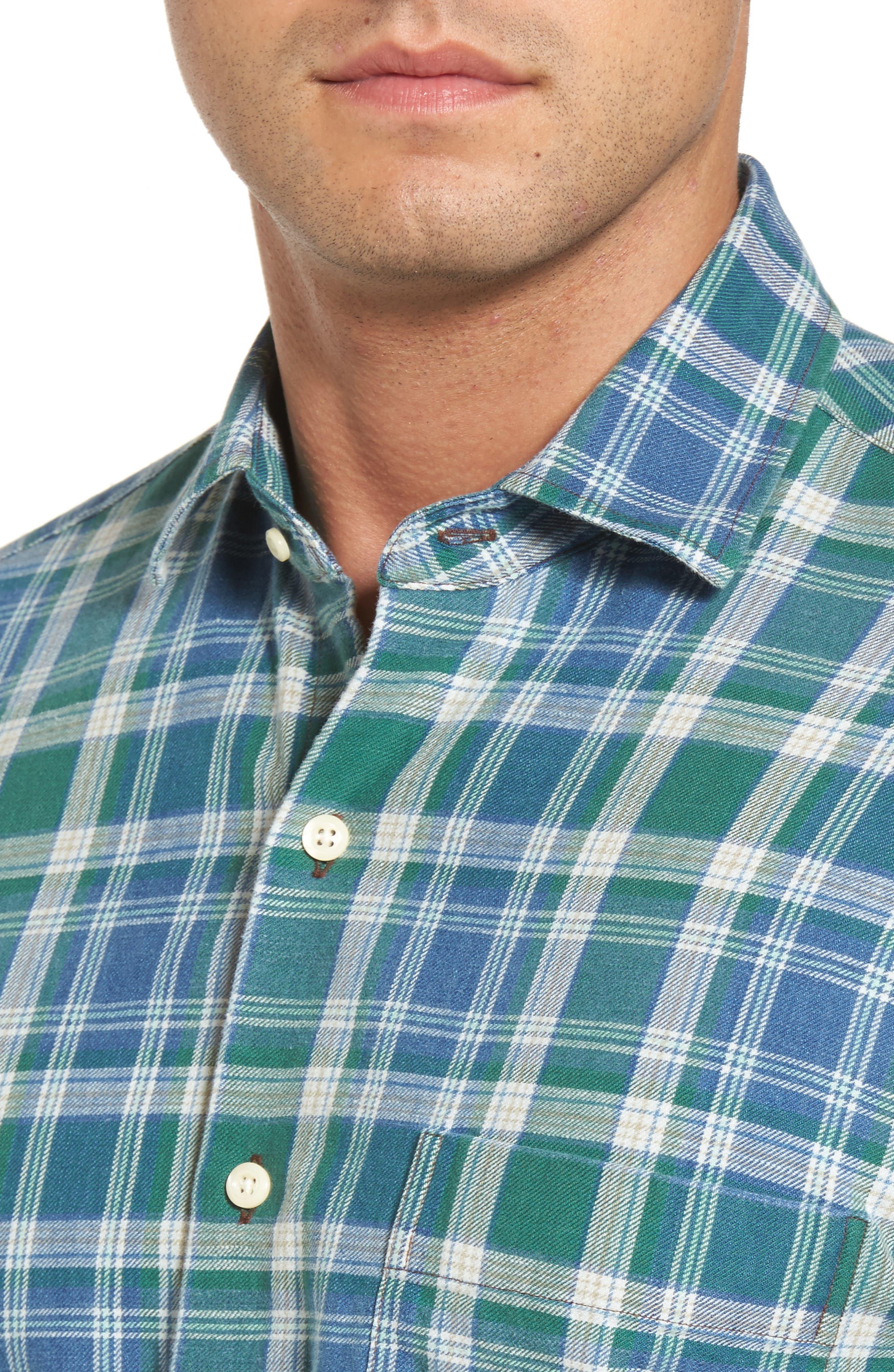 Alternate Image 4  - Peter Millar Rocky Regular Fit Plaid Sport Shirt