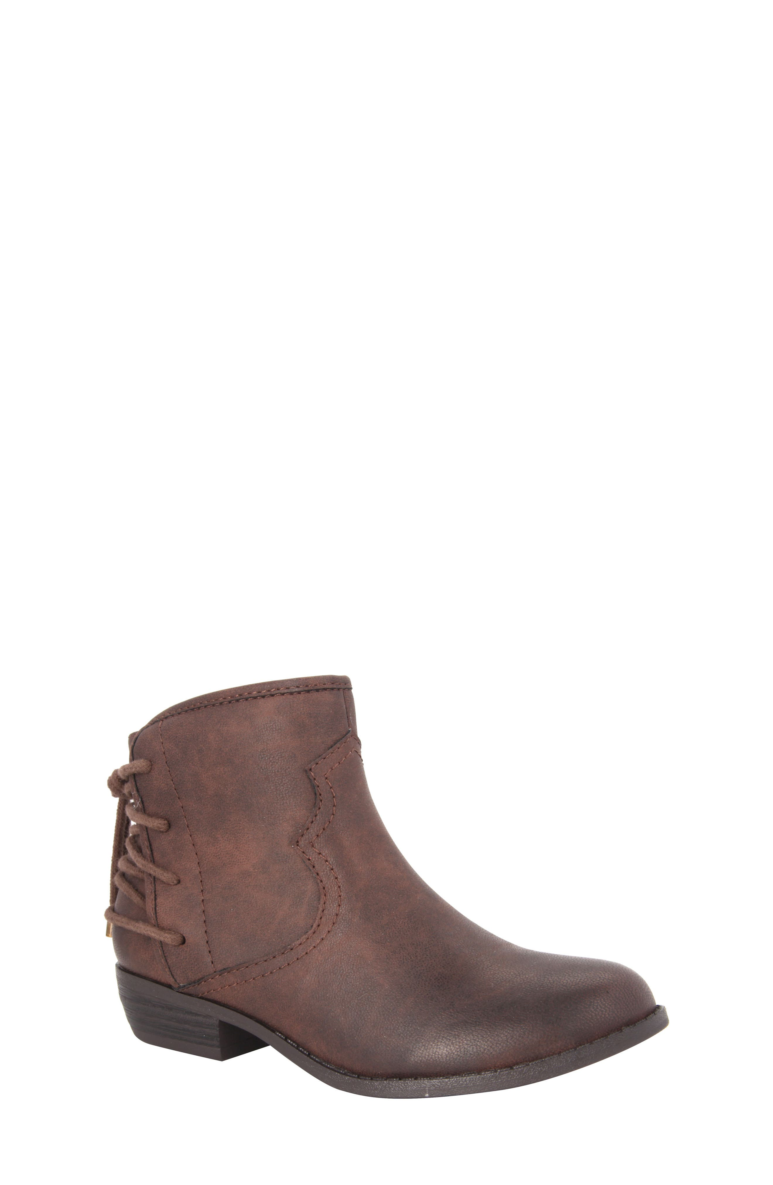 Evette Distressed Back-Lace Bootie,                             Main thumbnail 1, color,                             Brown Faux Leather