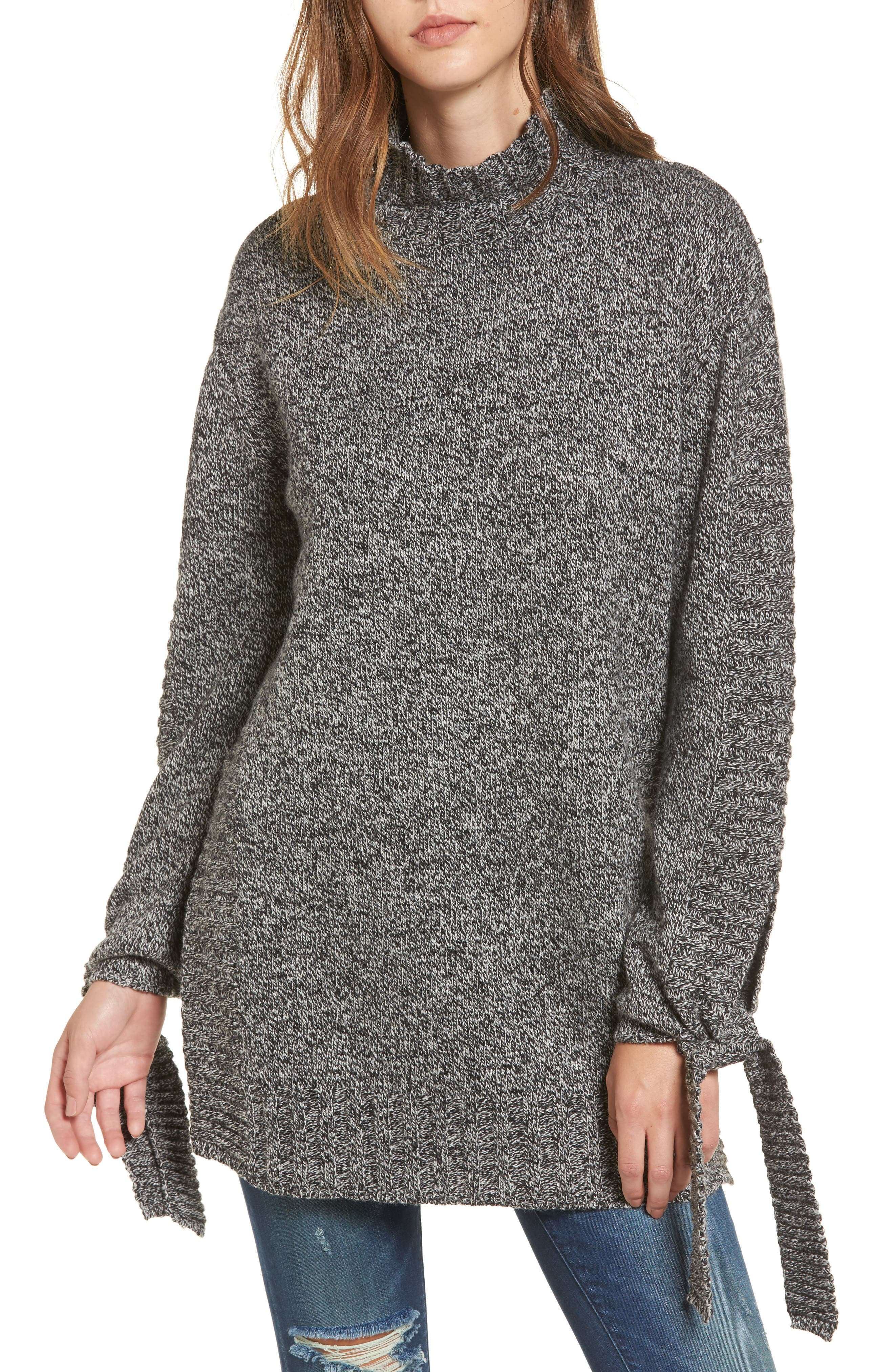 Side Slit Sweater,                         Main,                         color, Charcoal
