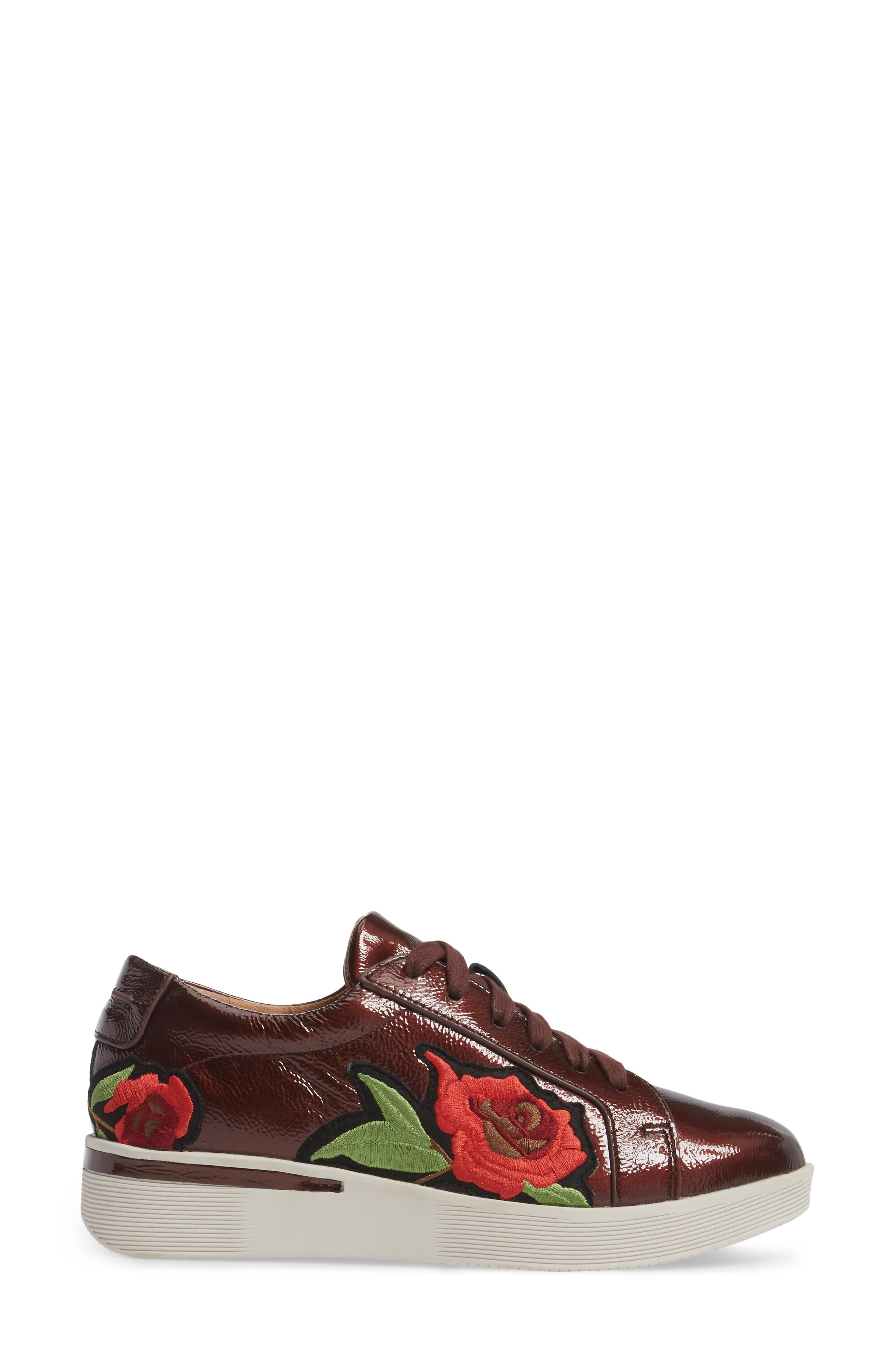 Gentle Soles Haddie Rose Sneaker,                             Alternate thumbnail 3, color,                             Wine Patent Leather