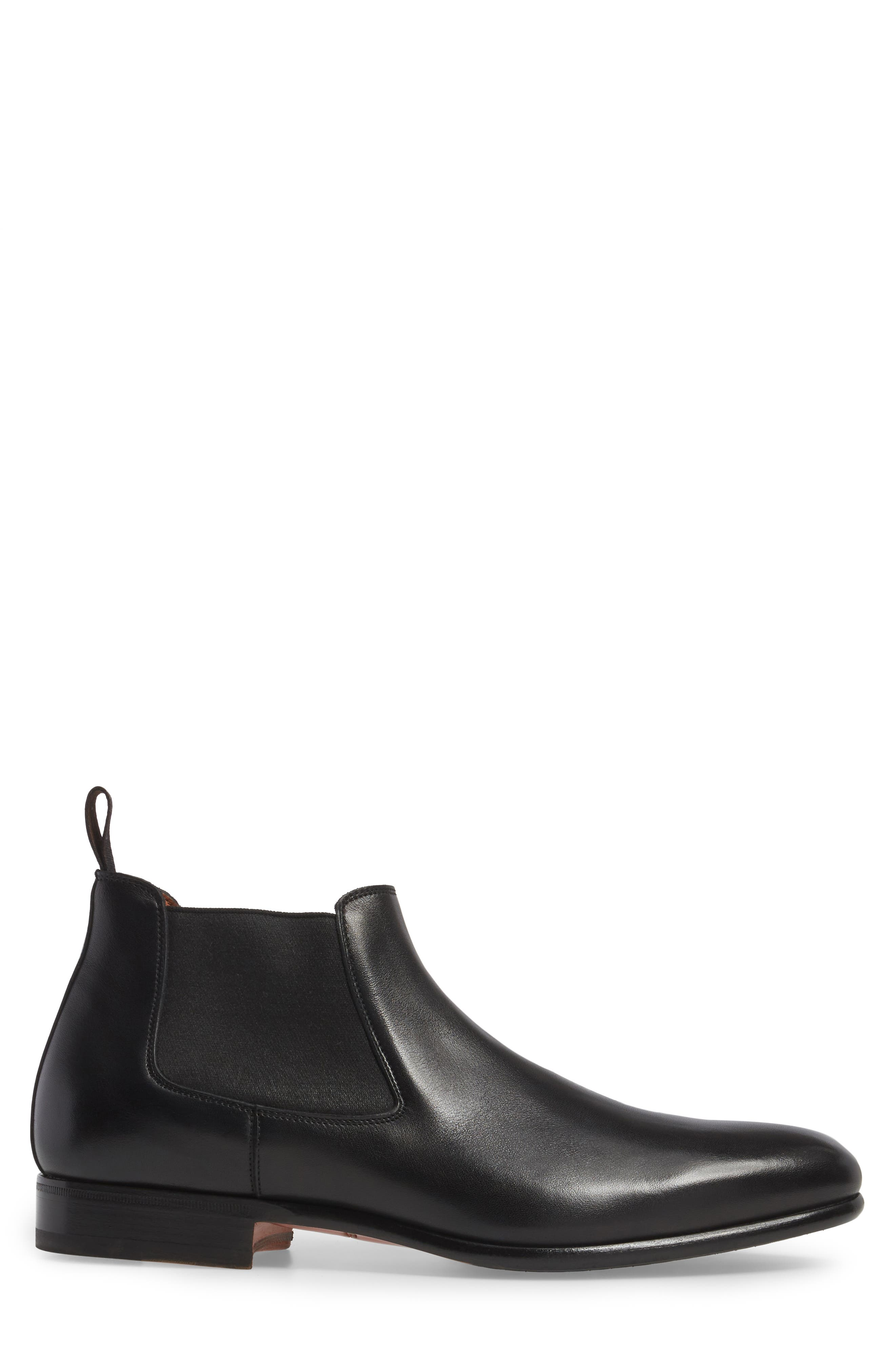 Gunther Chelsea Boot,                             Alternate thumbnail 3, color,                             Black Leather