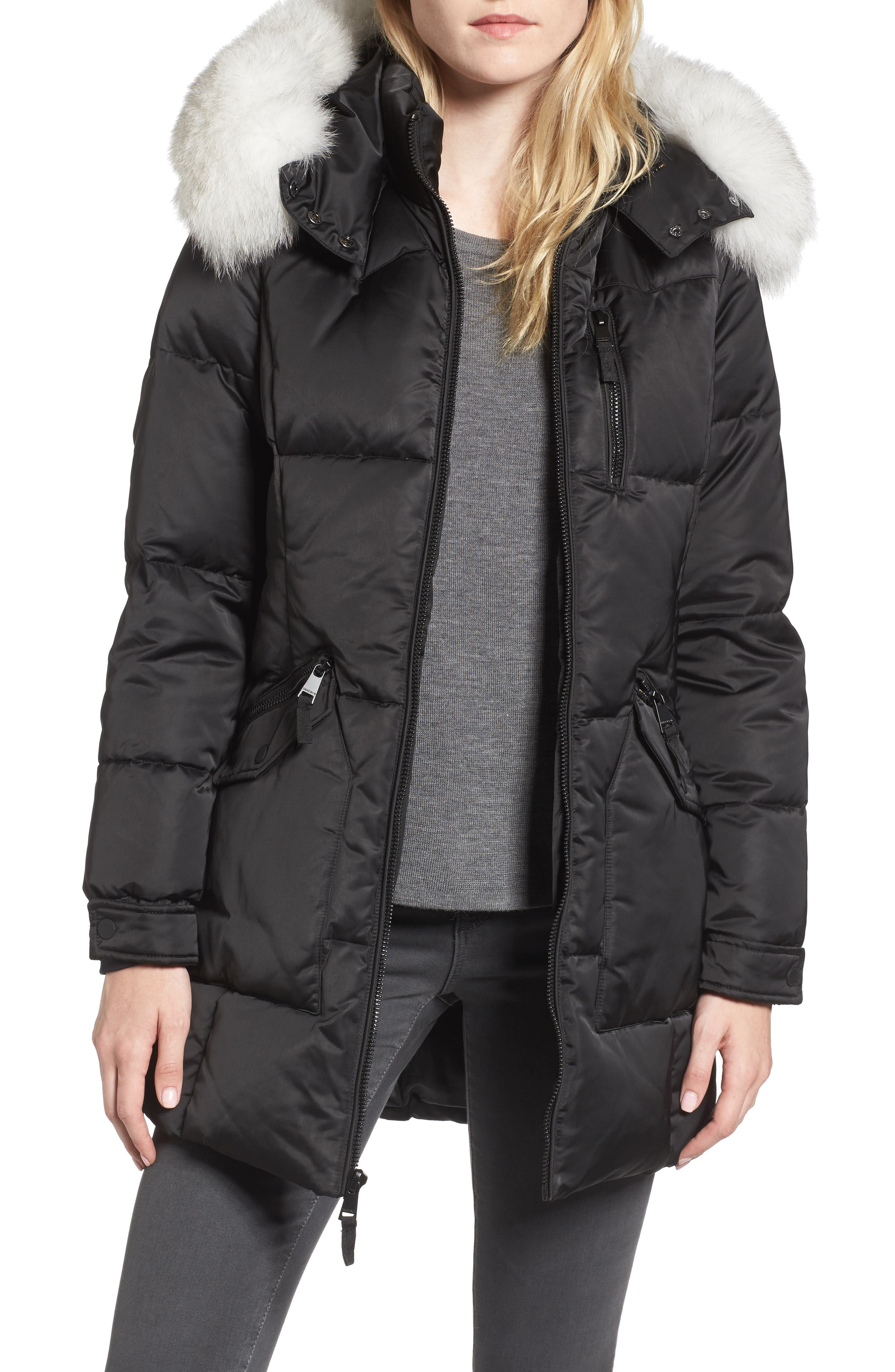 Puffer Jacket with Genuine Fox Fur Trim,                             Main thumbnail 1, color,                             Black