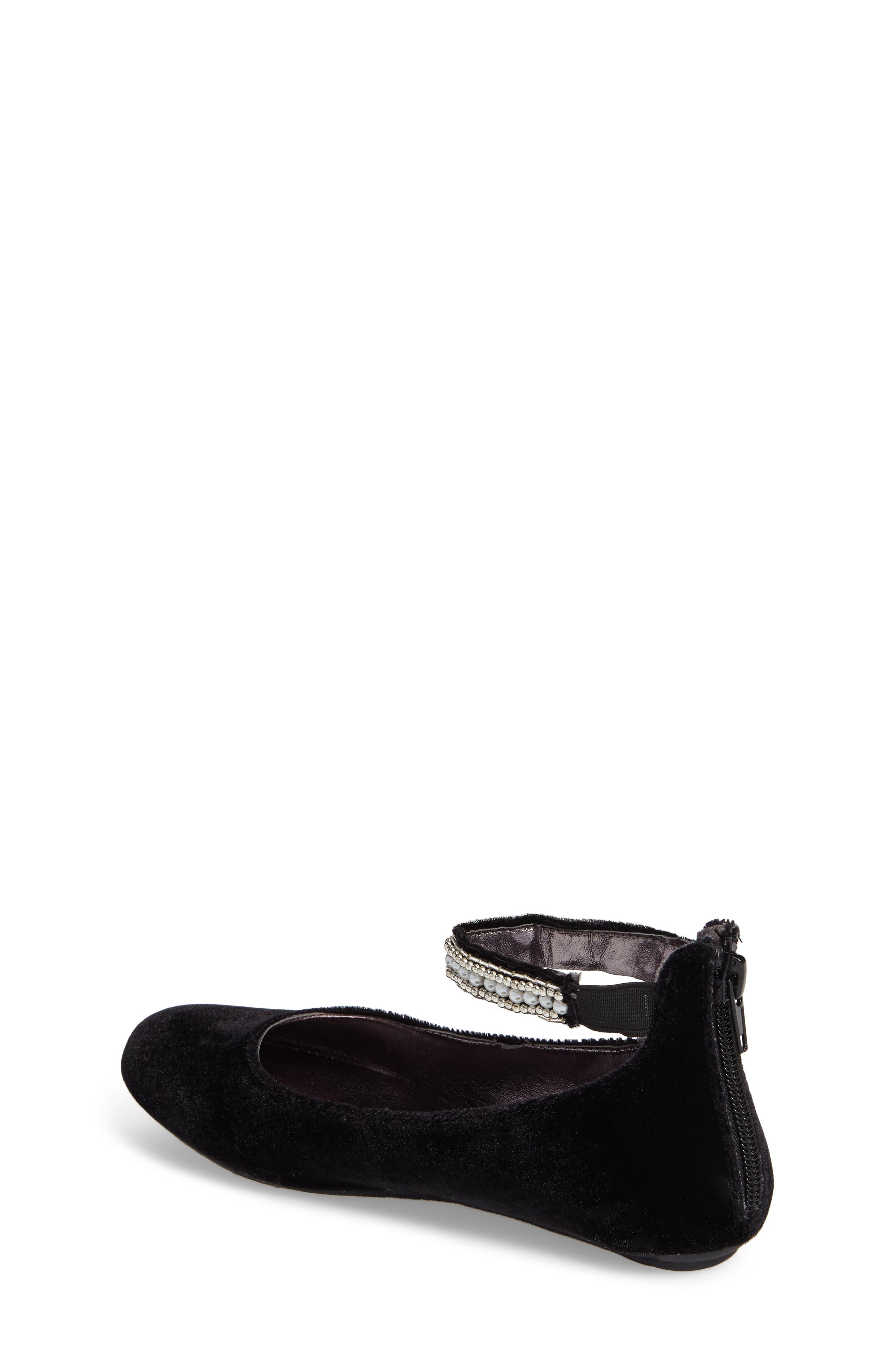 Zilerp Embellished Ankle Strap Flat,                             Alternate thumbnail 2, color,                             Black Velvet