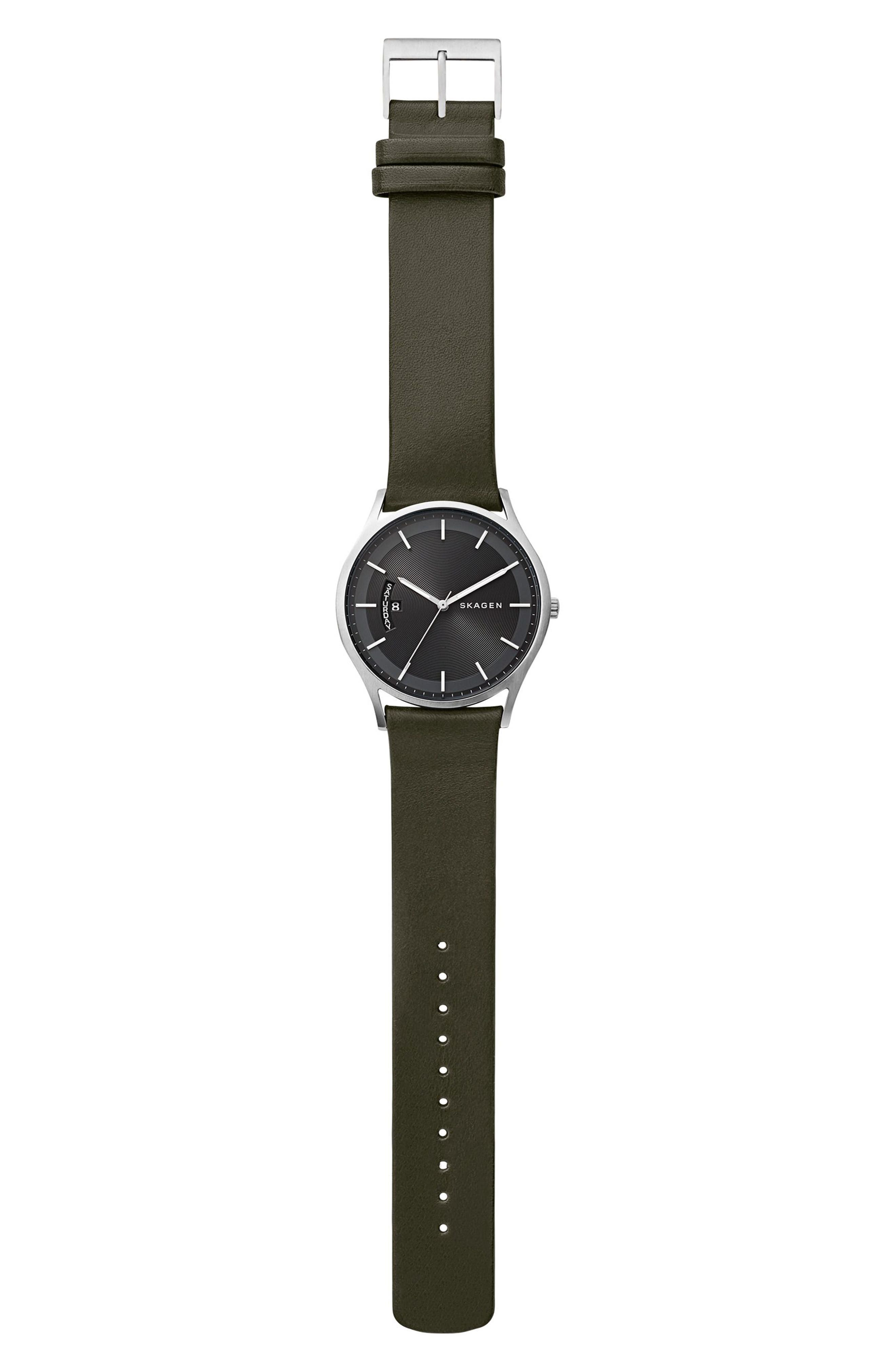 Holst Leather Strap Watch, 40mm,                             Alternate thumbnail 3, color,                             Green/ Black/ Silver