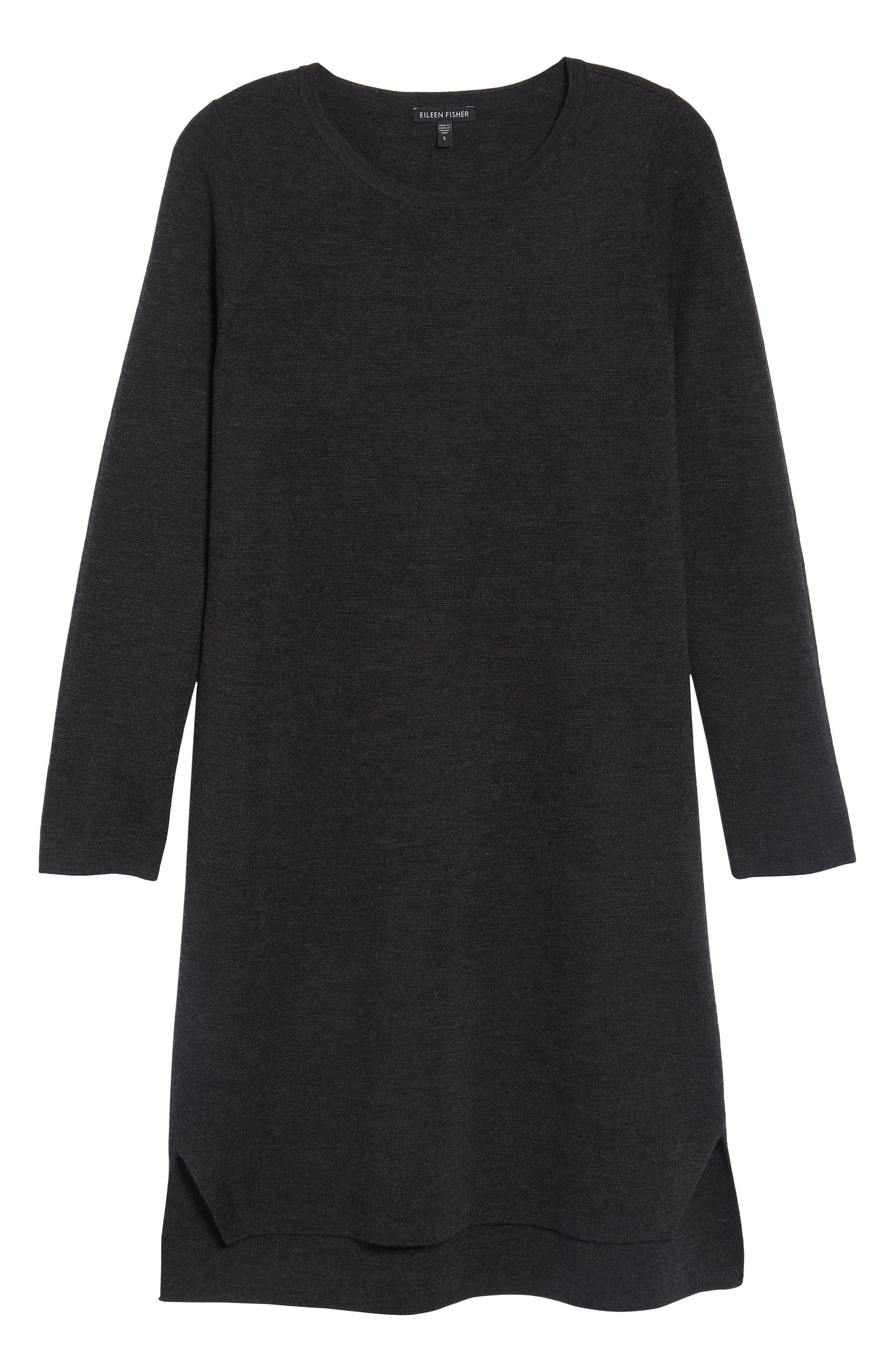 Merino Wool Sweater Dress,                             Alternate thumbnail 6, color,                             Charcoal