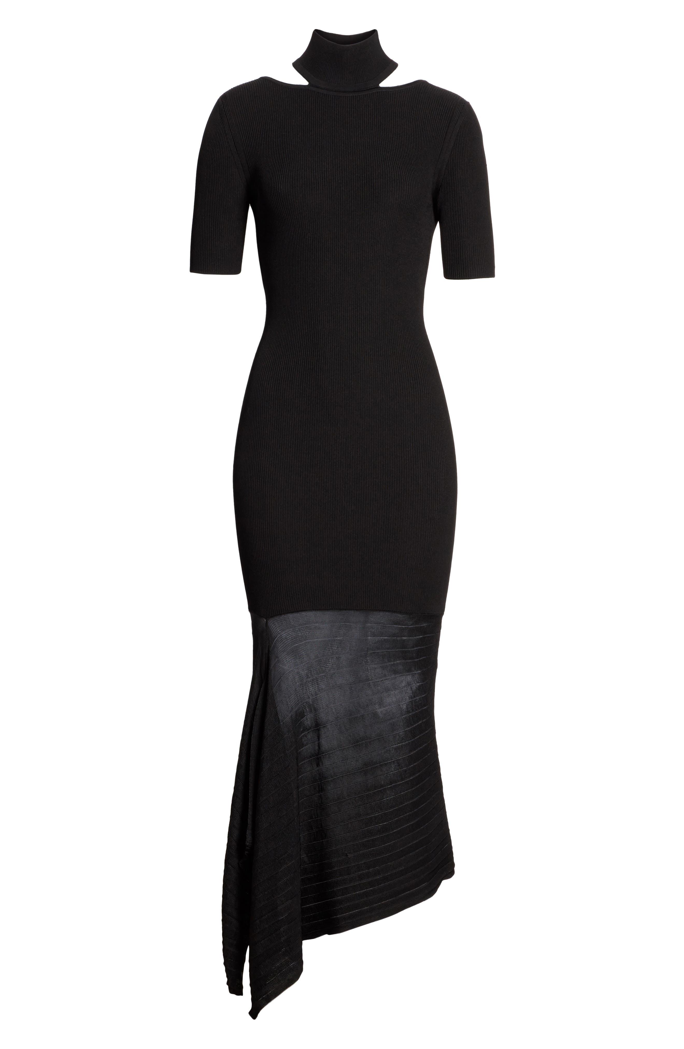 Asymmetrical Knit Dress,                             Alternate thumbnail 7, color,                             Black