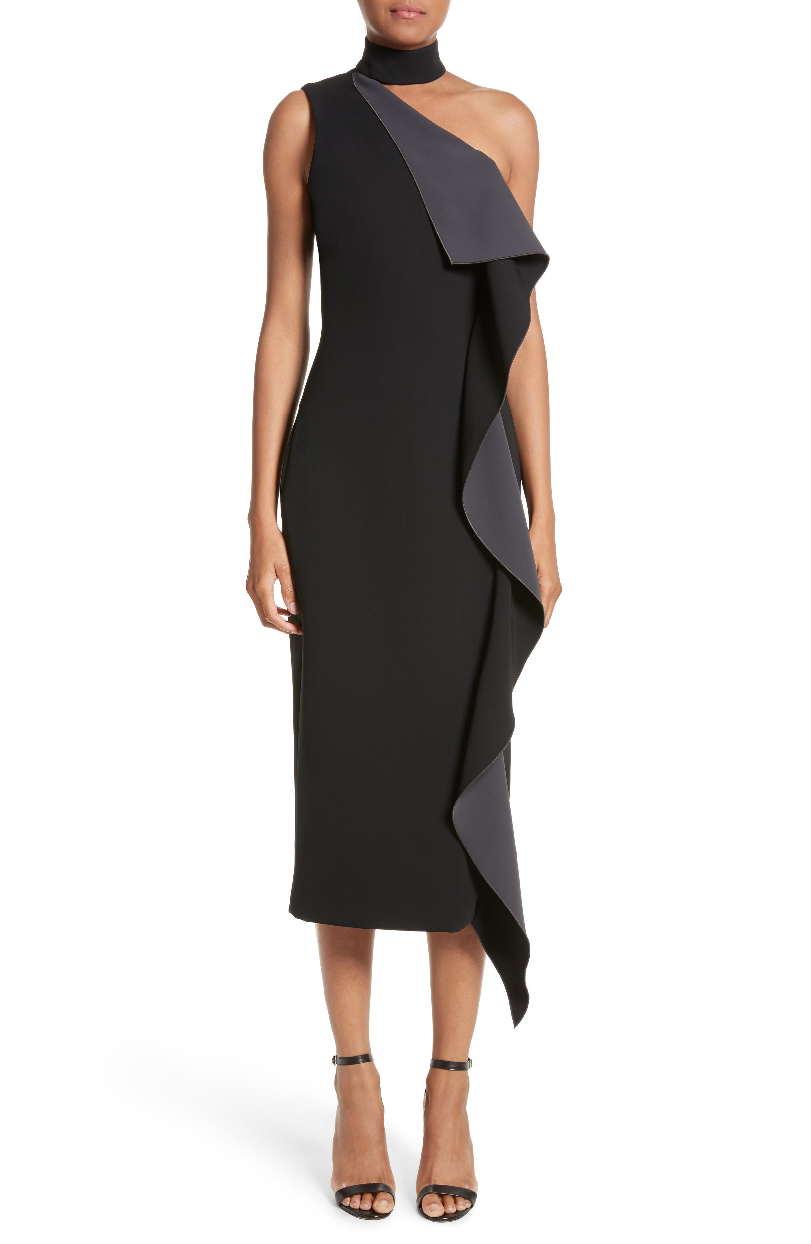 Elettra Ruffle Front Bonded Crepe Halter Dress,                             Main thumbnail 1, color,                             Black/ Graphite