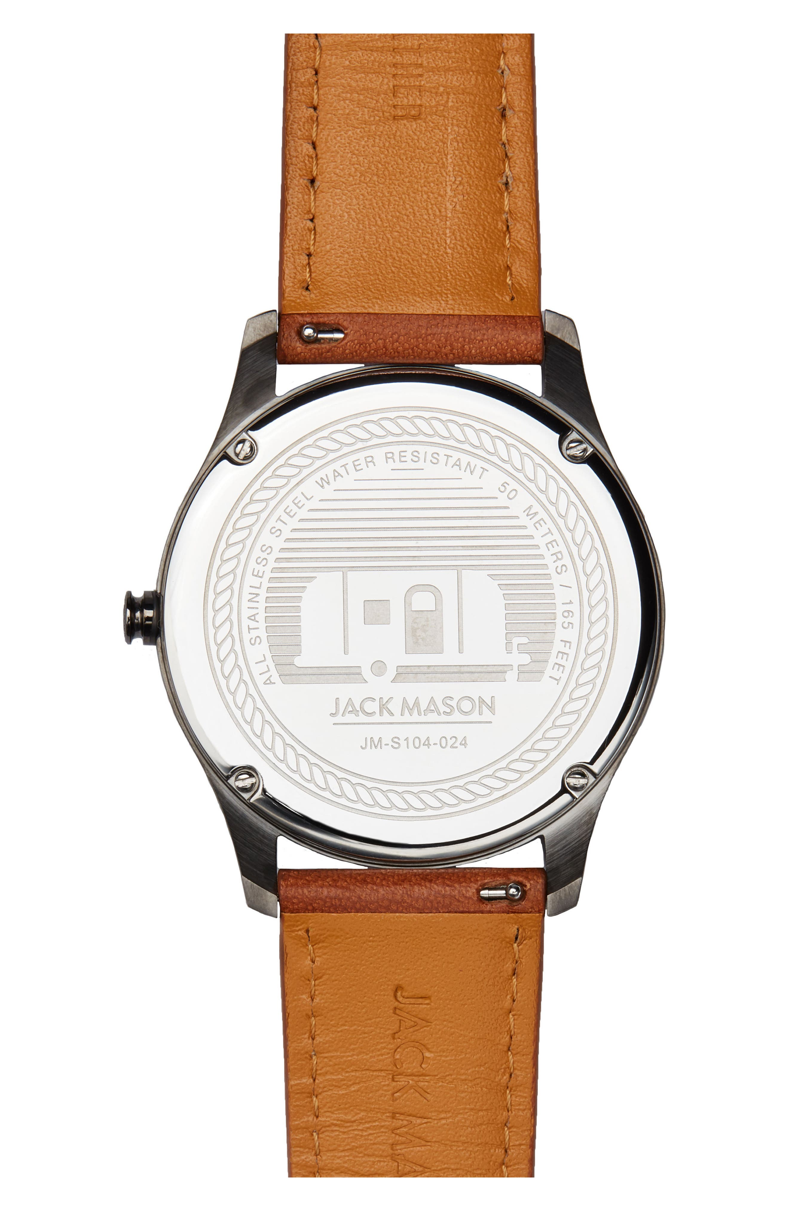 Slim Leather Strap Watch, 46mm,                             Alternate thumbnail 2, color,                             Navy/ Tan