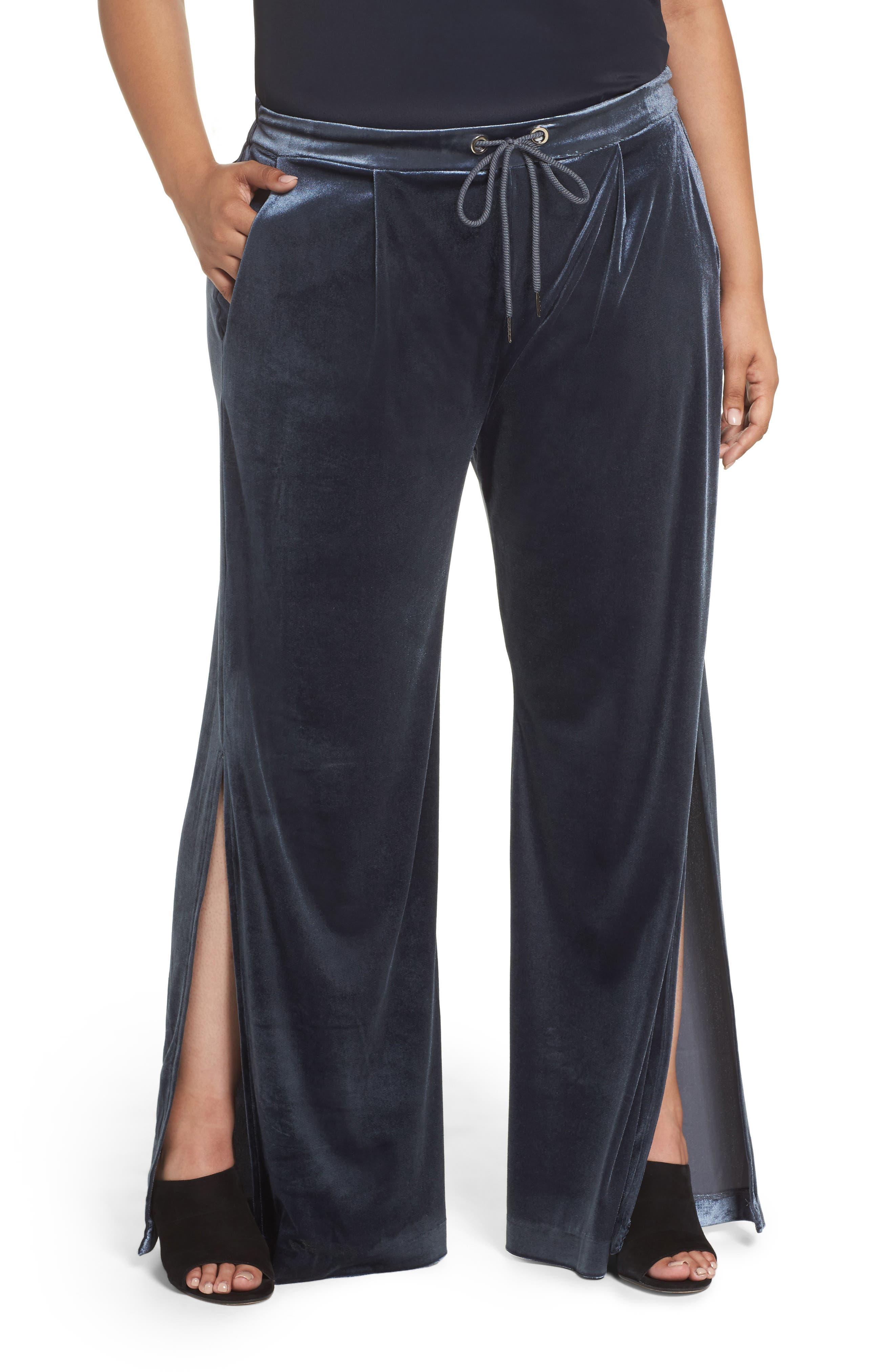 ELVI Velvet Wide Leg Pants (Plus Size)