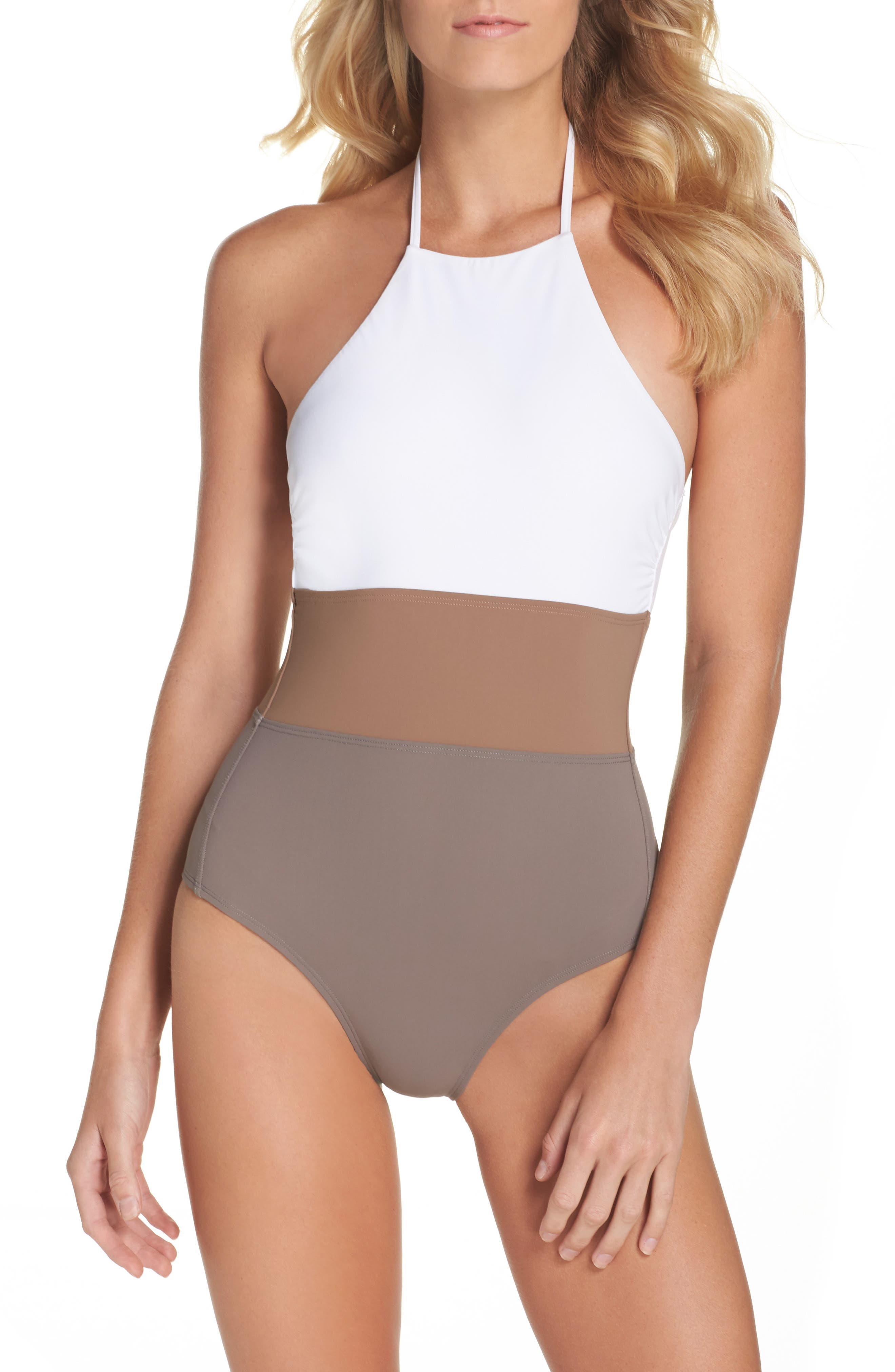 Halter One-Piece Swimsuit,                         Main,                         color, White/ Clay/ Stone