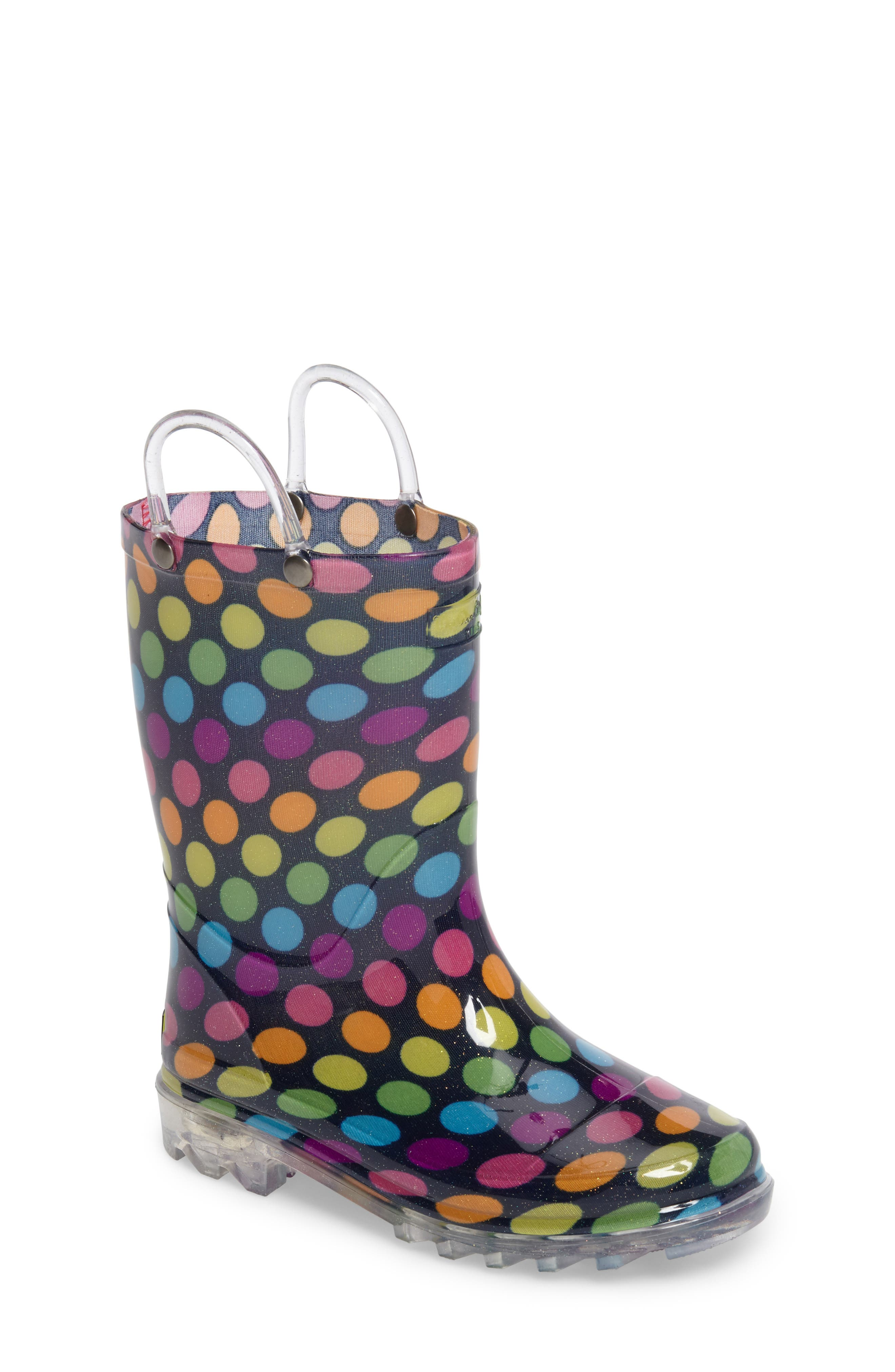 Darling Dot Light-Up Rain Boot,                             Main thumbnail 1, color,                             Multi