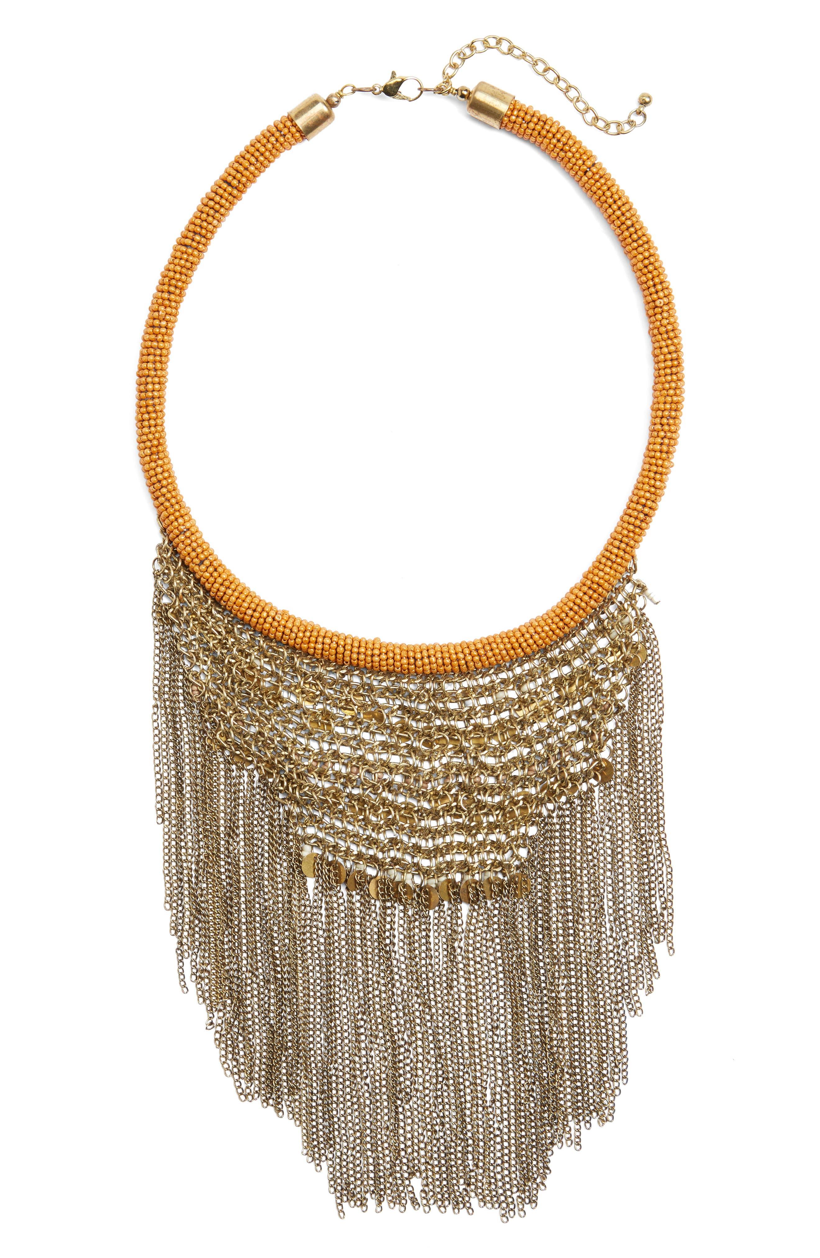 Antique Fringe Bib Necklace,                         Main,                         color, Gold