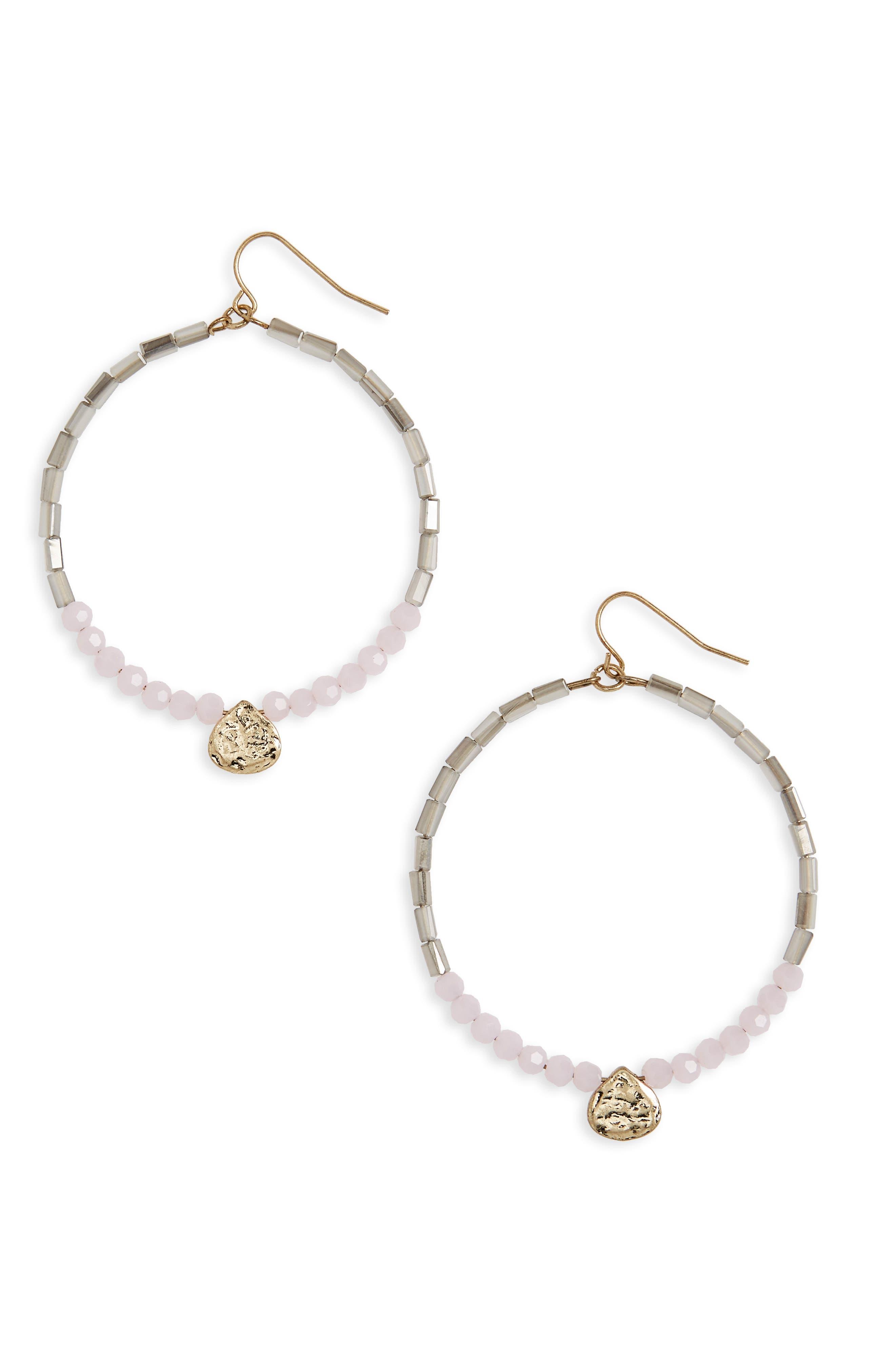 Beaded Hoops,                         Main,                         color, Pink/ Grey