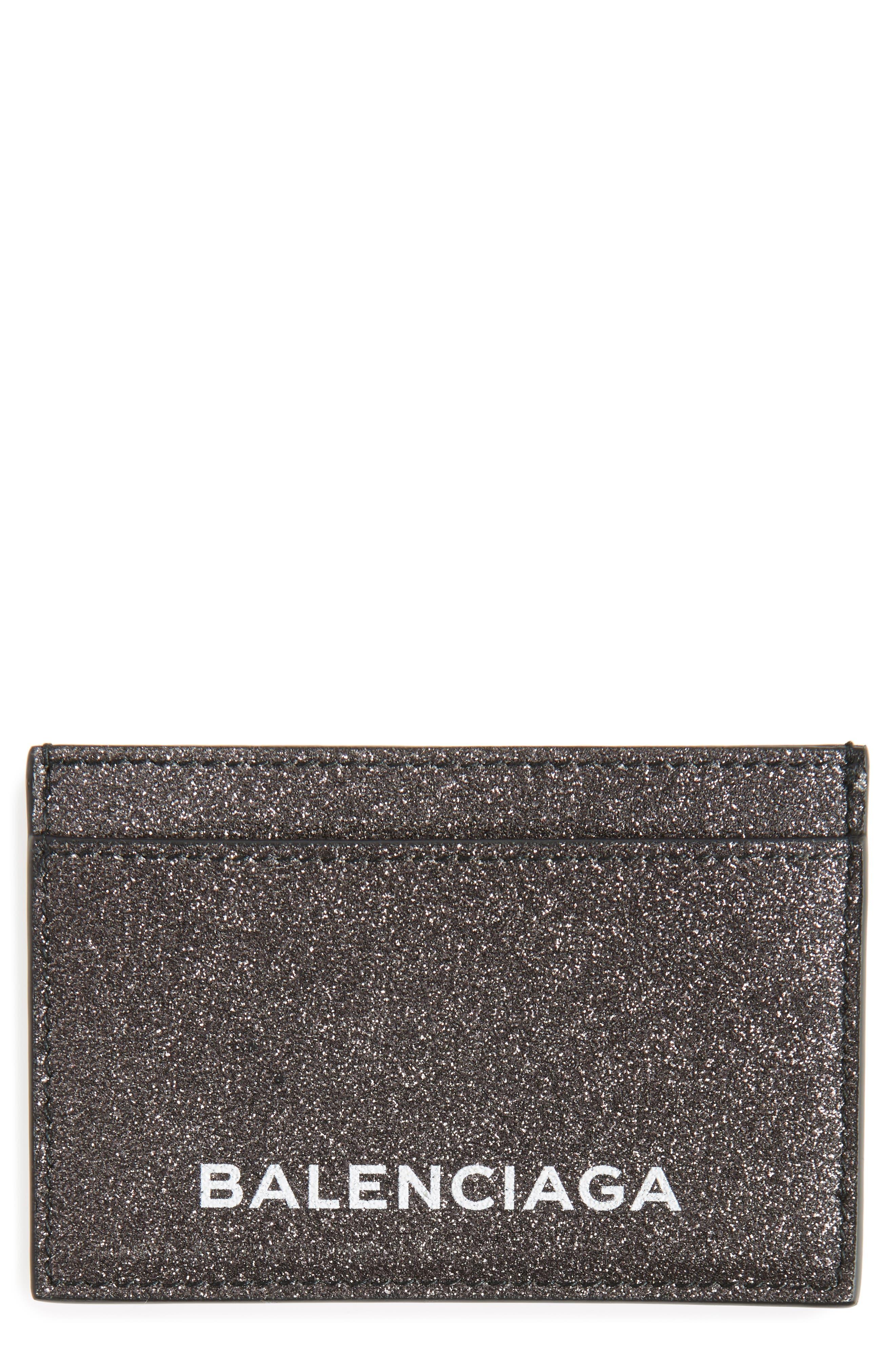 Balenciaga Essential Sparkle Logo Card Case