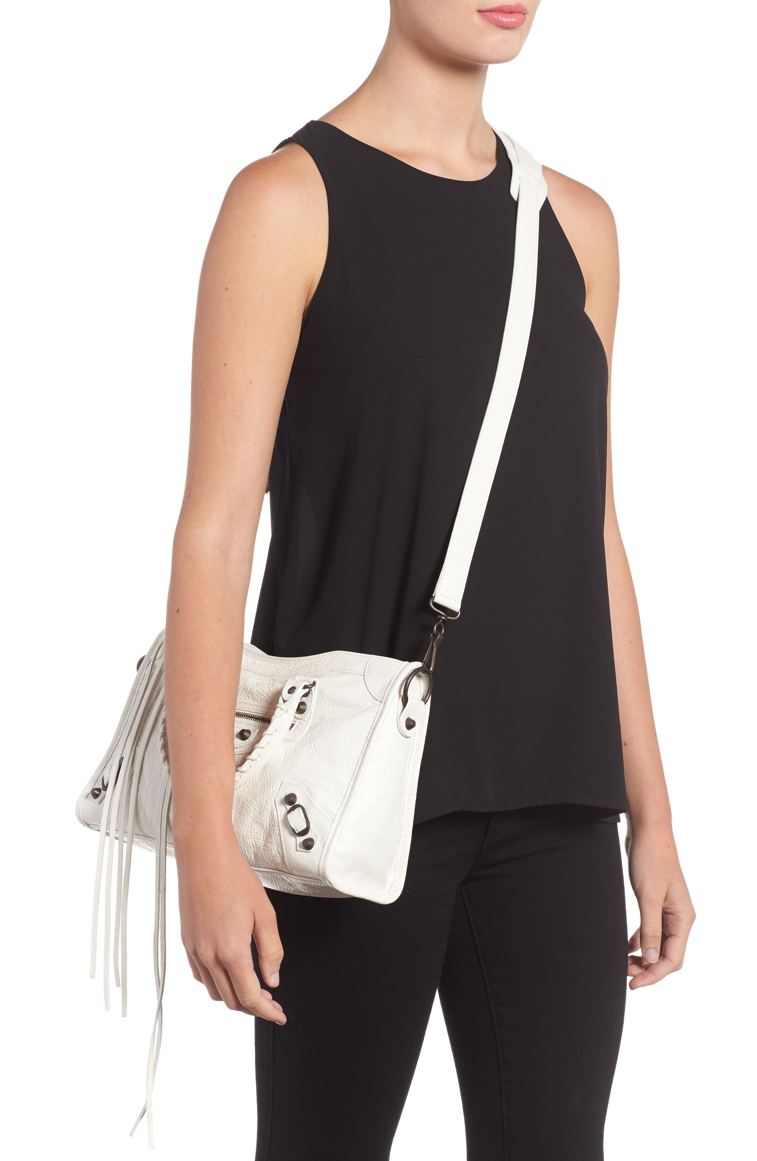 Small Classic City Leather Tote,                             Alternate thumbnail 2, color,                             9060 Blanc Clair