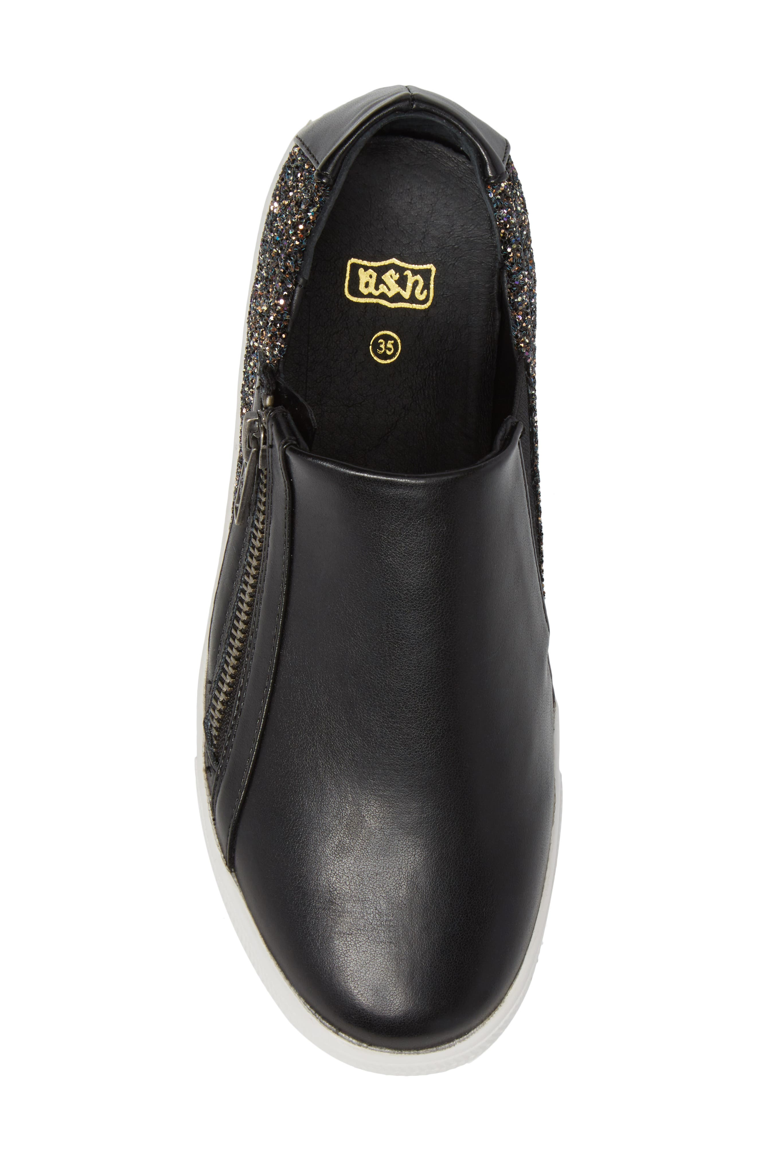 Lynn Monica Glittery Zip Sneaker,                             Alternate thumbnail 5, color,                             Black Faux Leather