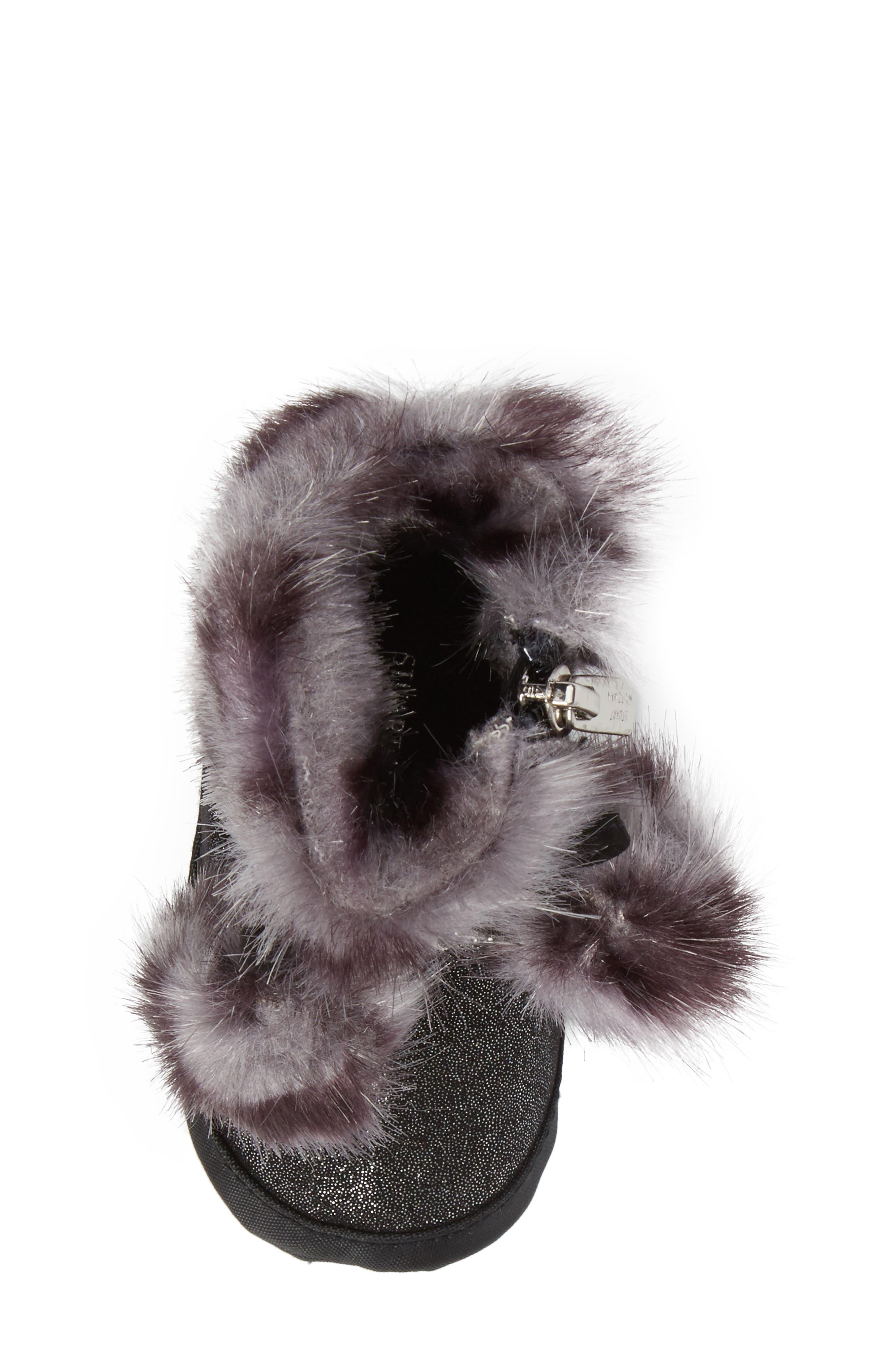 Baby Sparkle Faux Fur Crib Bootie,                             Alternate thumbnail 5, color,                             Black Shimmer