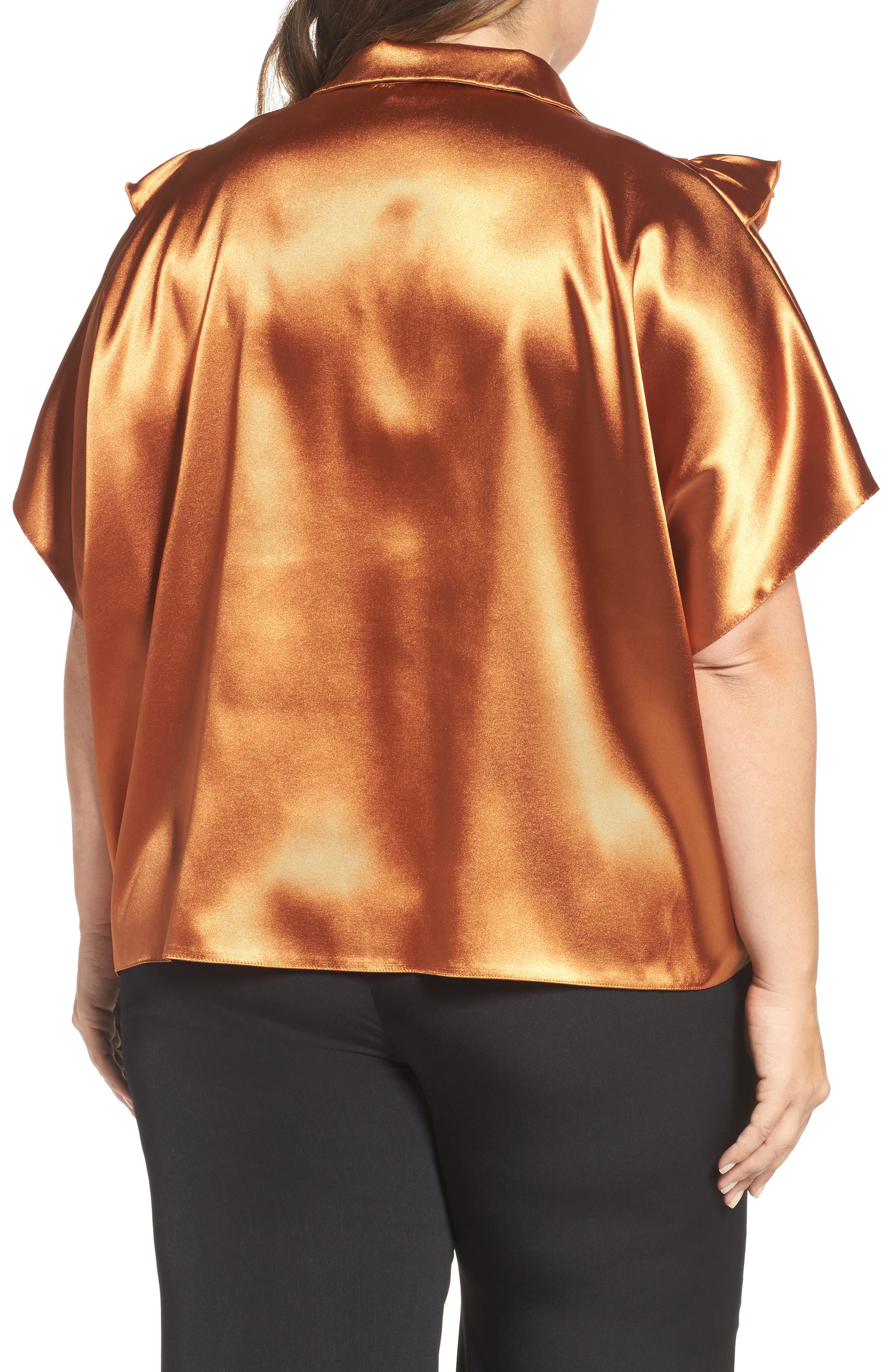 Alternate Image 2  - ELVI Copper Frill Shirt (Plus Size)