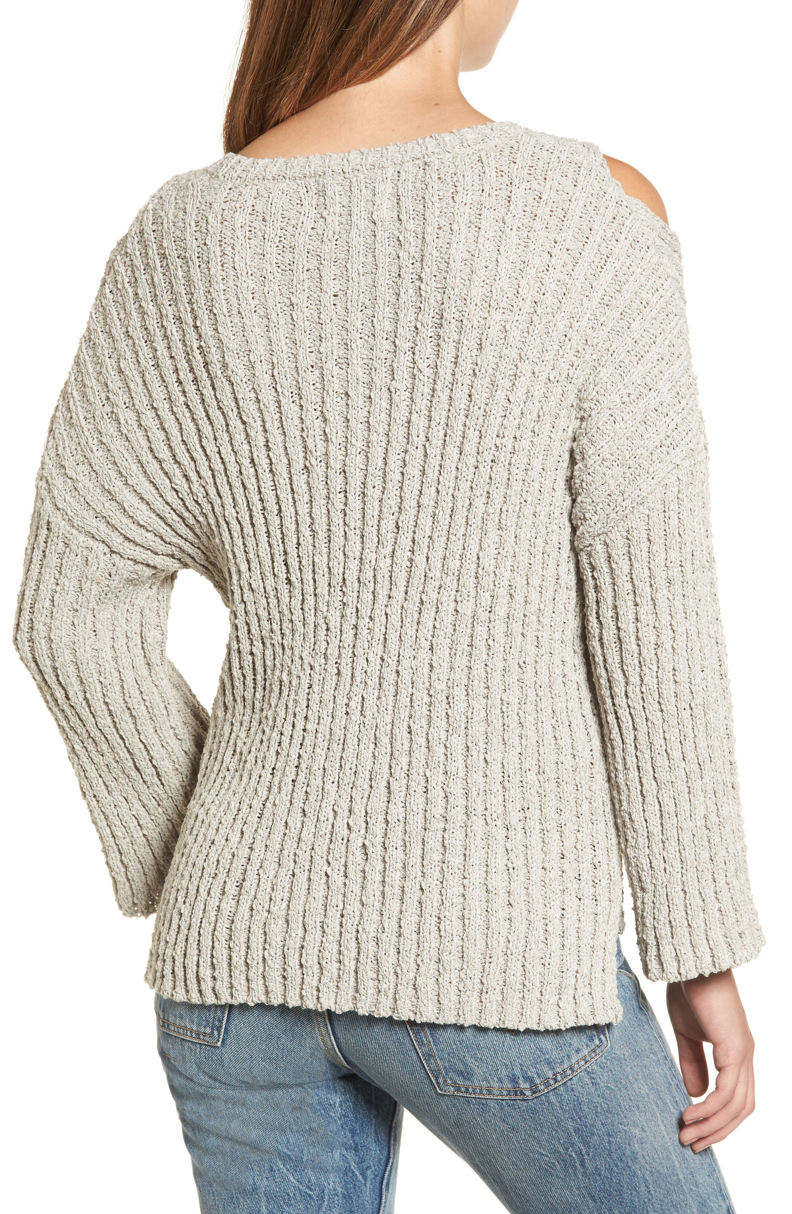 Fuzzy Knit Cold Shoulder Sweater,                             Alternate thumbnail 2, color,                             Grey