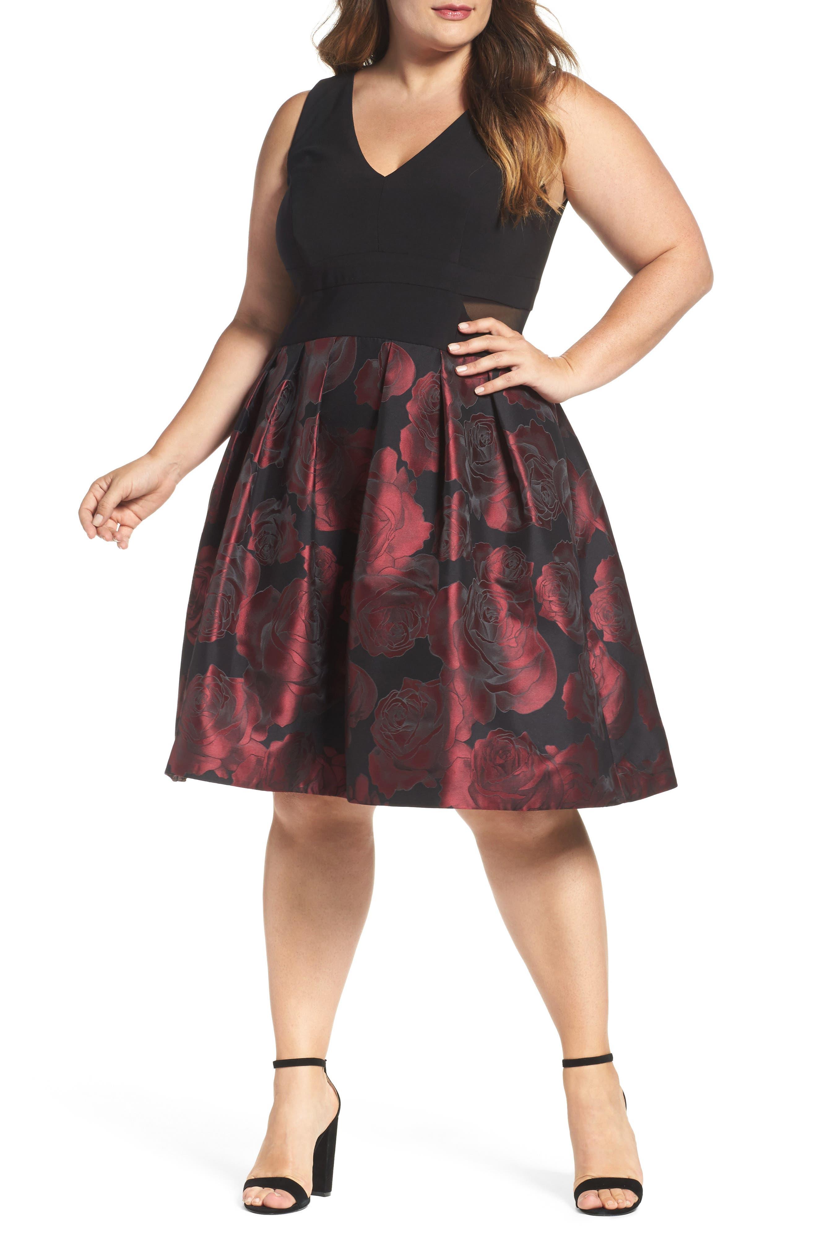 Floral Brocade Fit & Flare Dress,                         Main,                         color, Black/ Berry