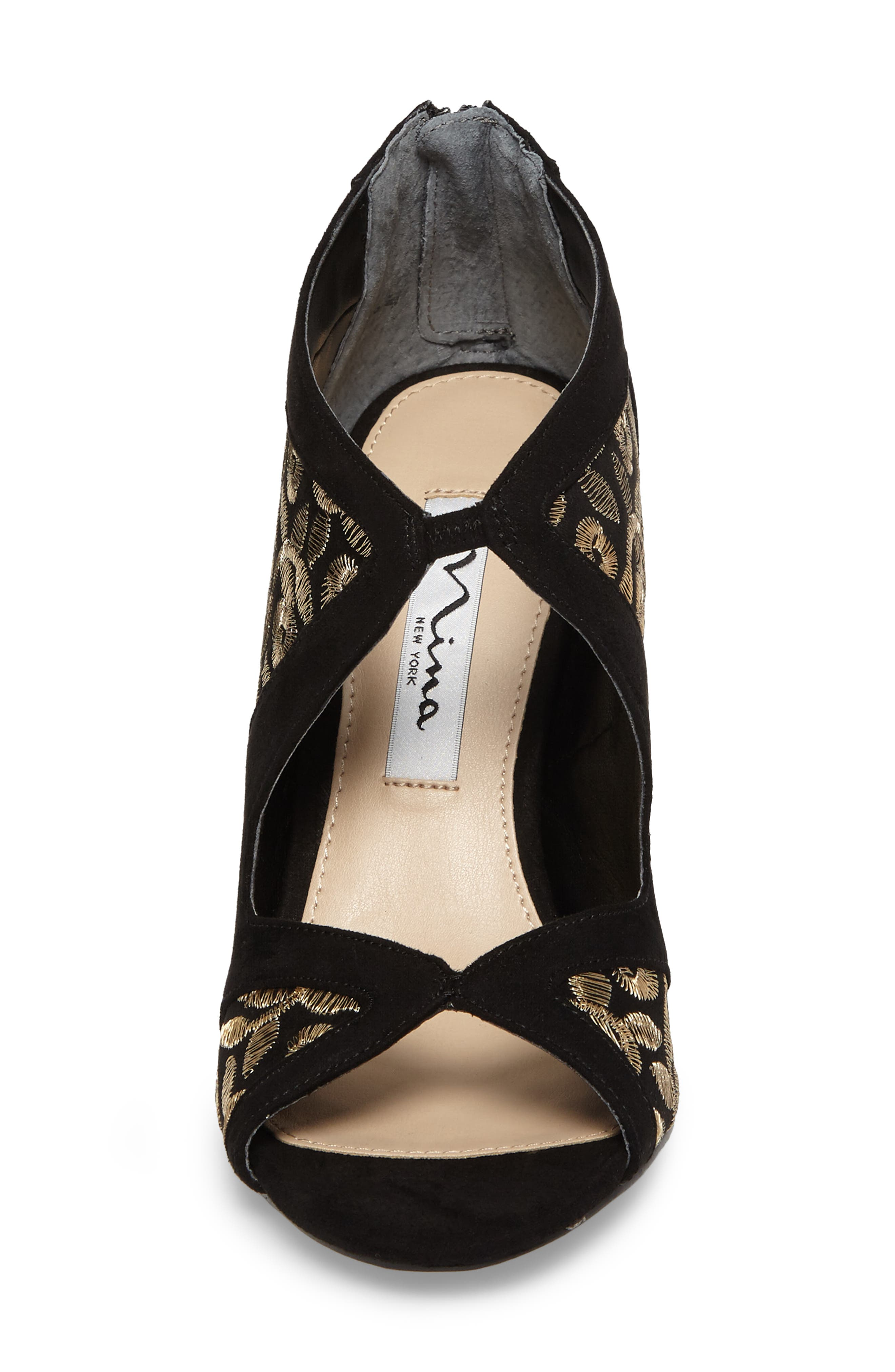 Cordella Open Toe Pump,                             Alternate thumbnail 4, color,                             Black/ Gold Embroidery Fabric
