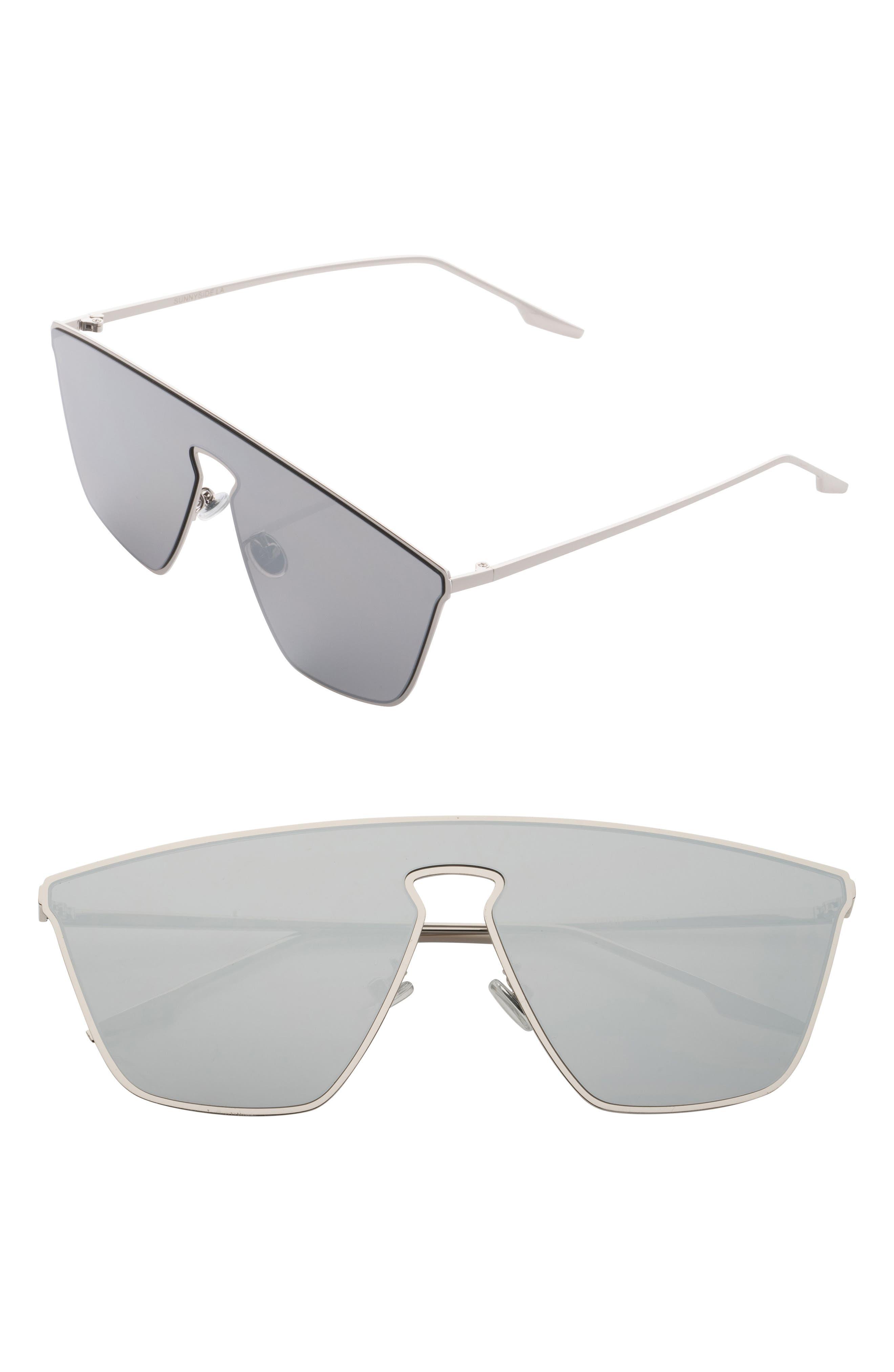 65mm Shield Sunglasses,                             Main thumbnail 1, color,                             Silver