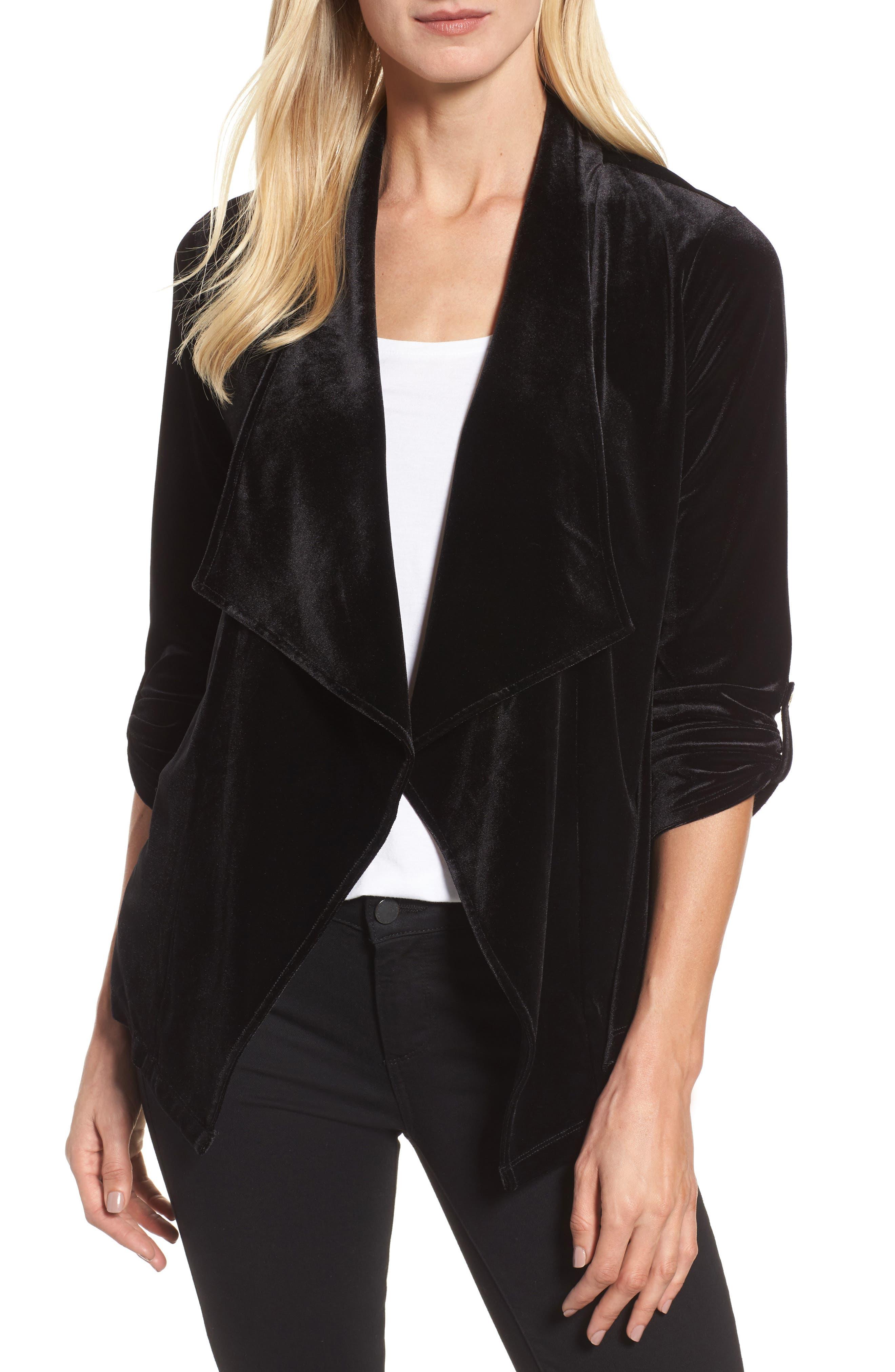 Chaus Velvet Drape Front Jacket
