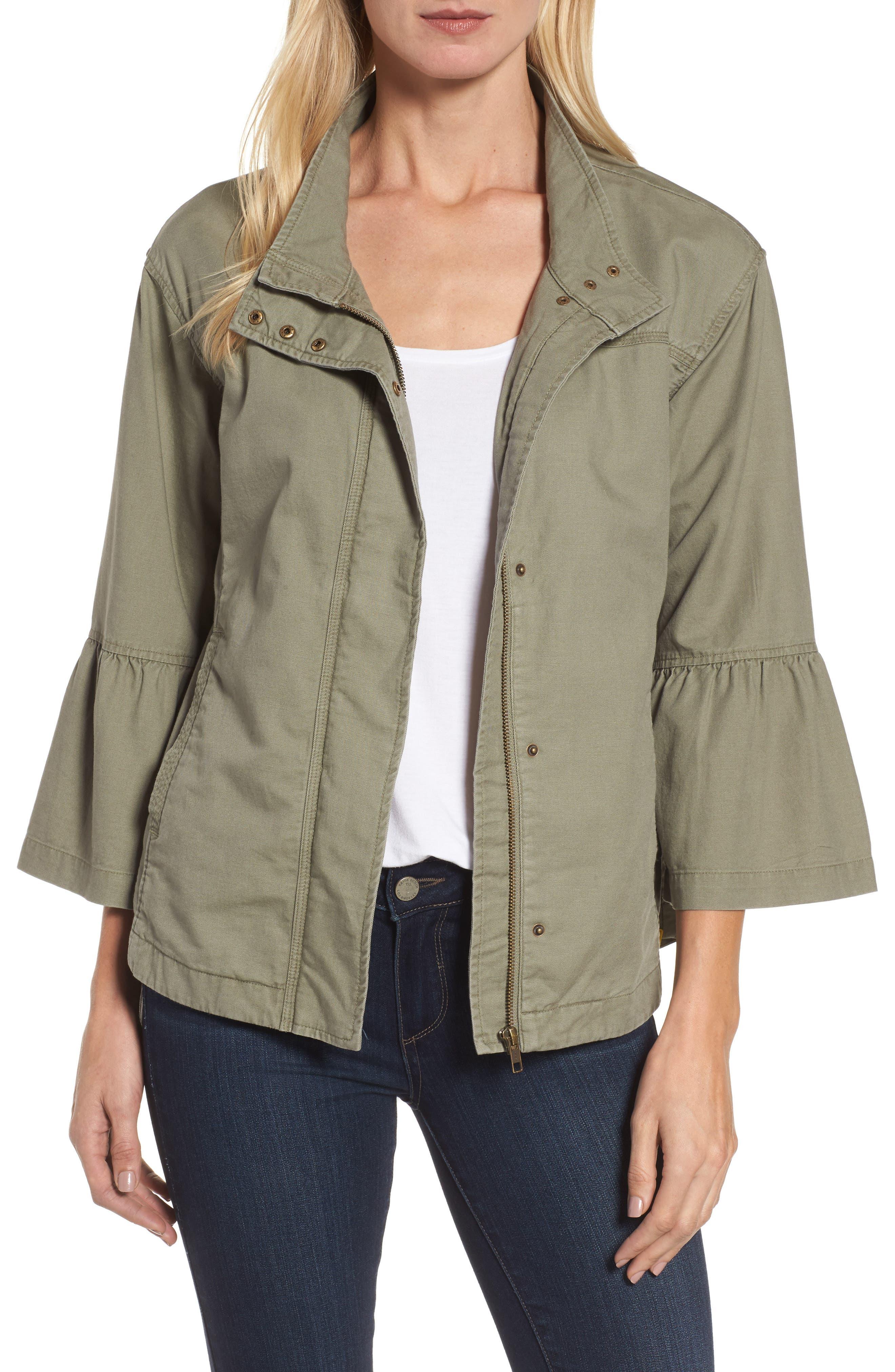 Caslon® Flare Sleeve Utility Jacket (Regular & Petite)