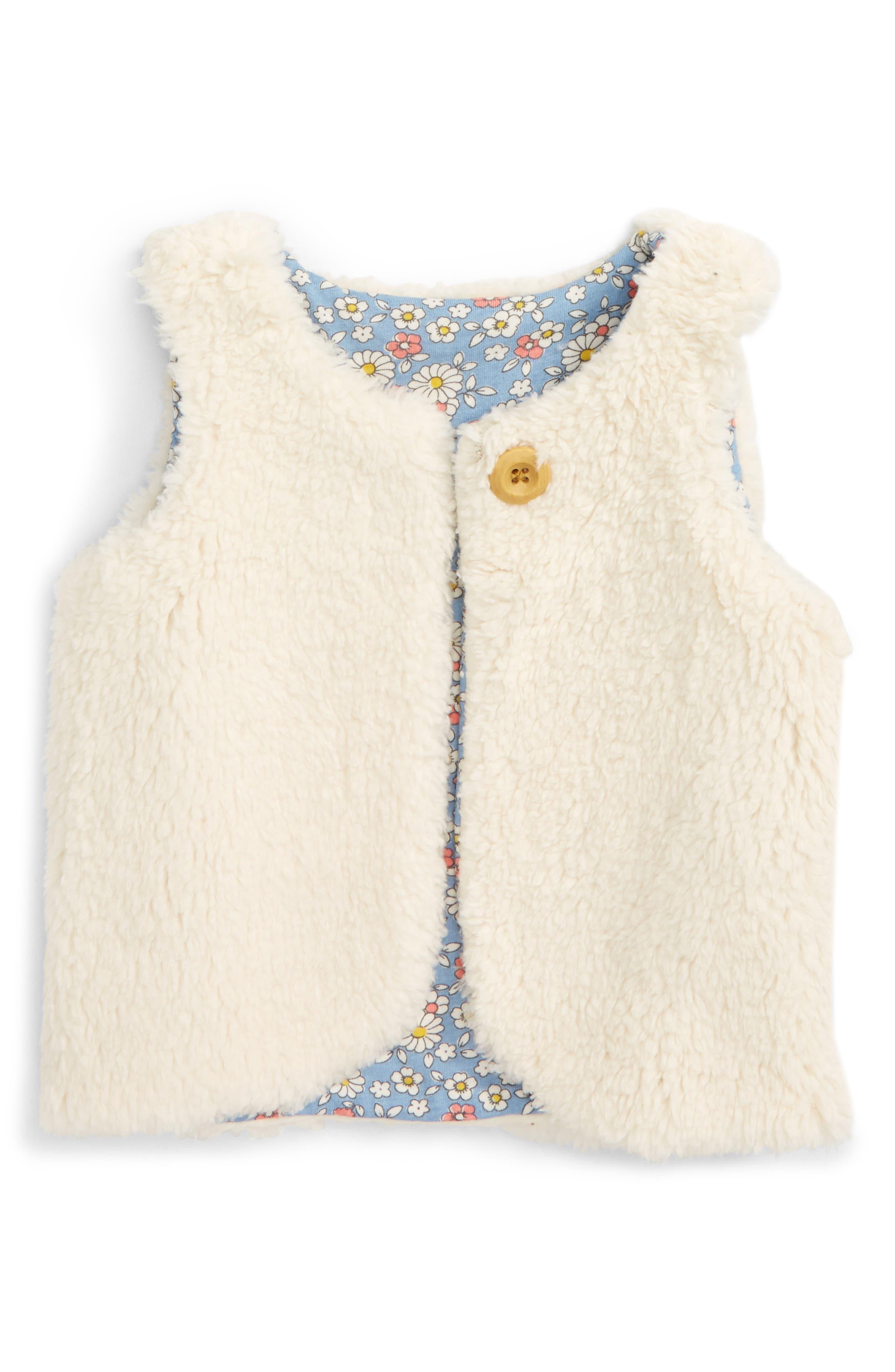 Main Image - Mini Boden Reversible Faux Shearling Vest (Baby Girls & Toddler Girls)