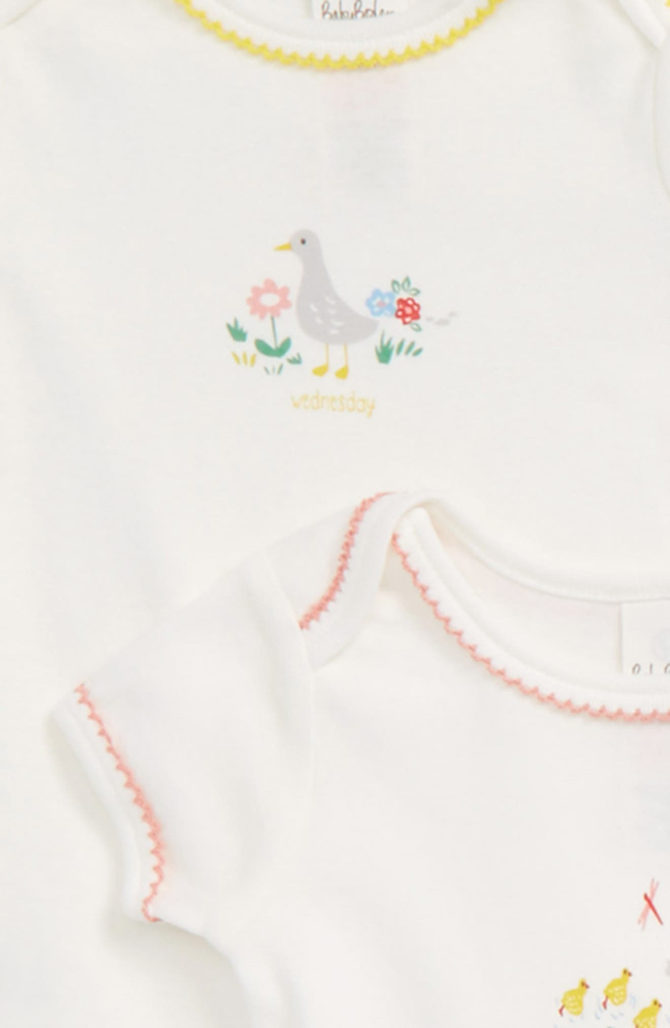 Alternate Image 2  - Mini Boden River Ducks Set of 7 Bodysuits (Baby)