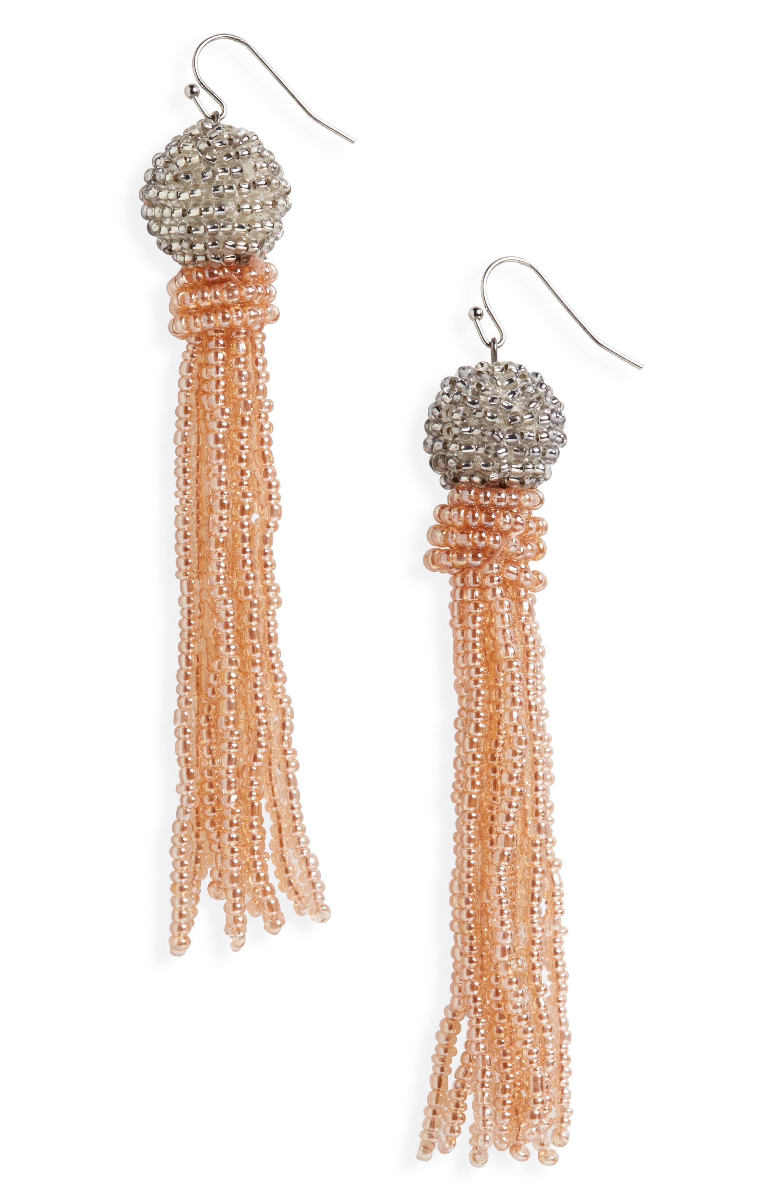 Beaded Tassel Earrings,                         Main,                         color, Cameo