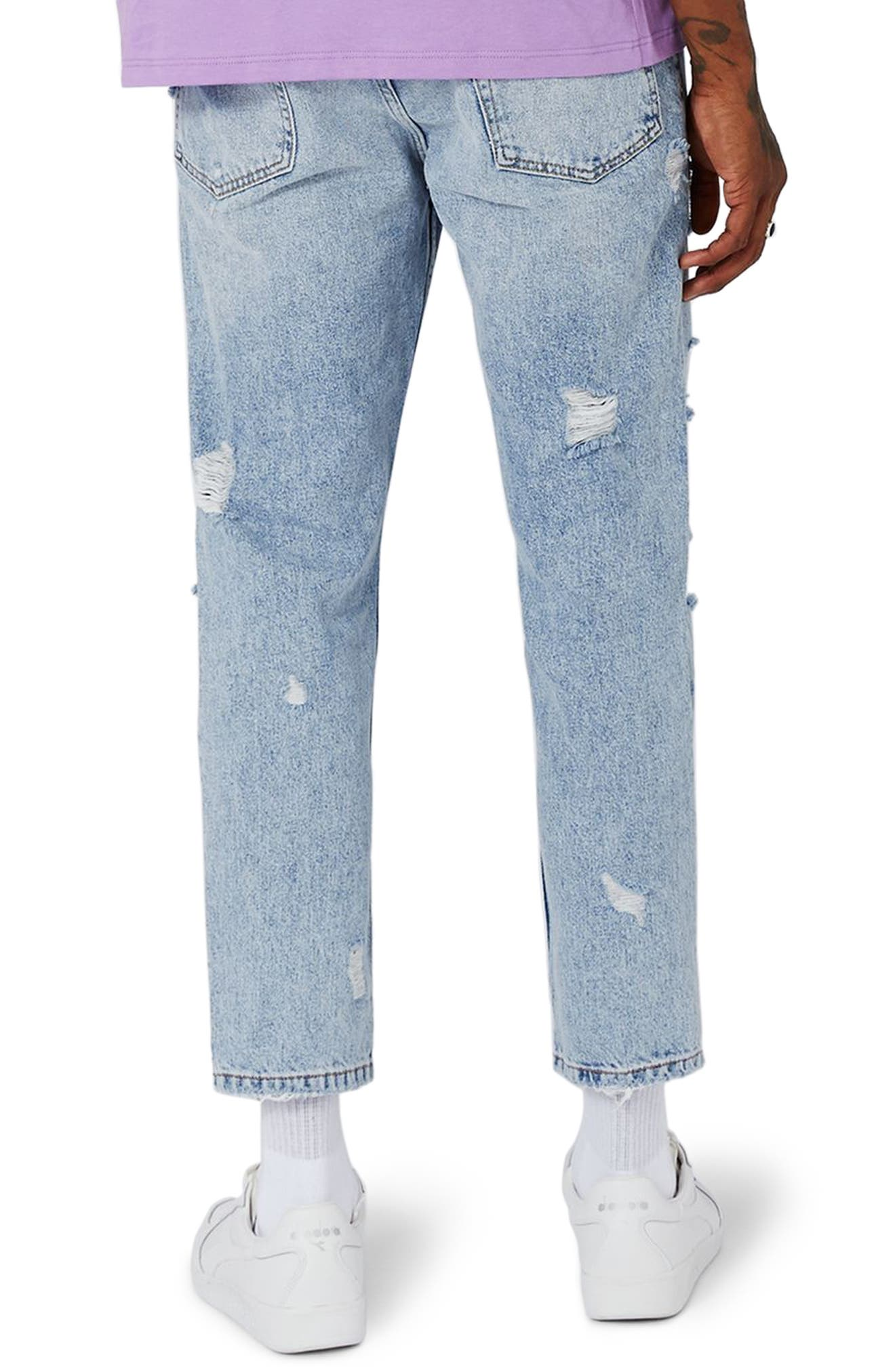 Topshop Extreme Rip Tapered Jeans,                             Alternate thumbnail 2, color,                             Light Blue