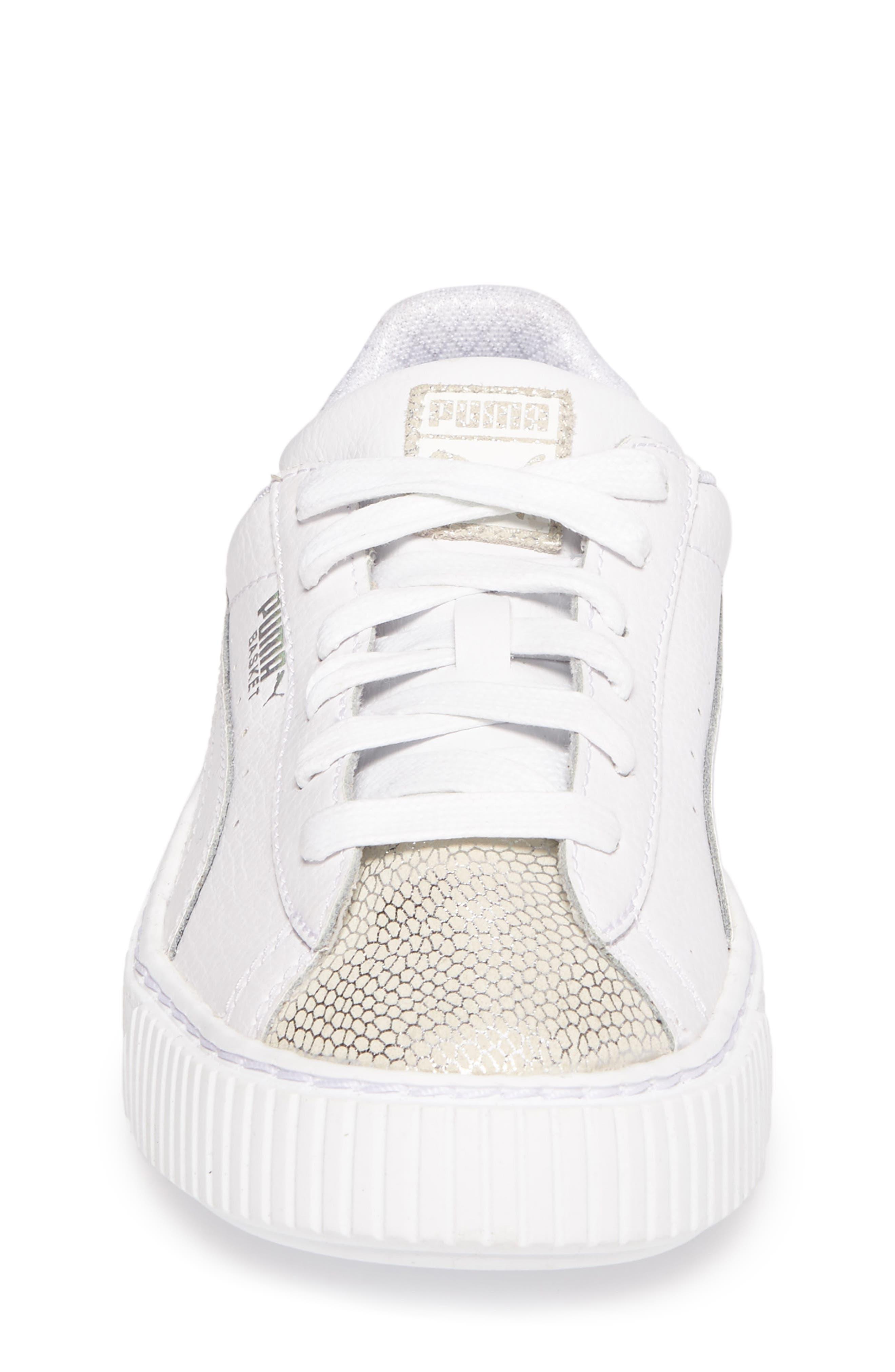 Basket Glitz Platform Sneaker,                             Alternate thumbnail 4, color,                             Puma White