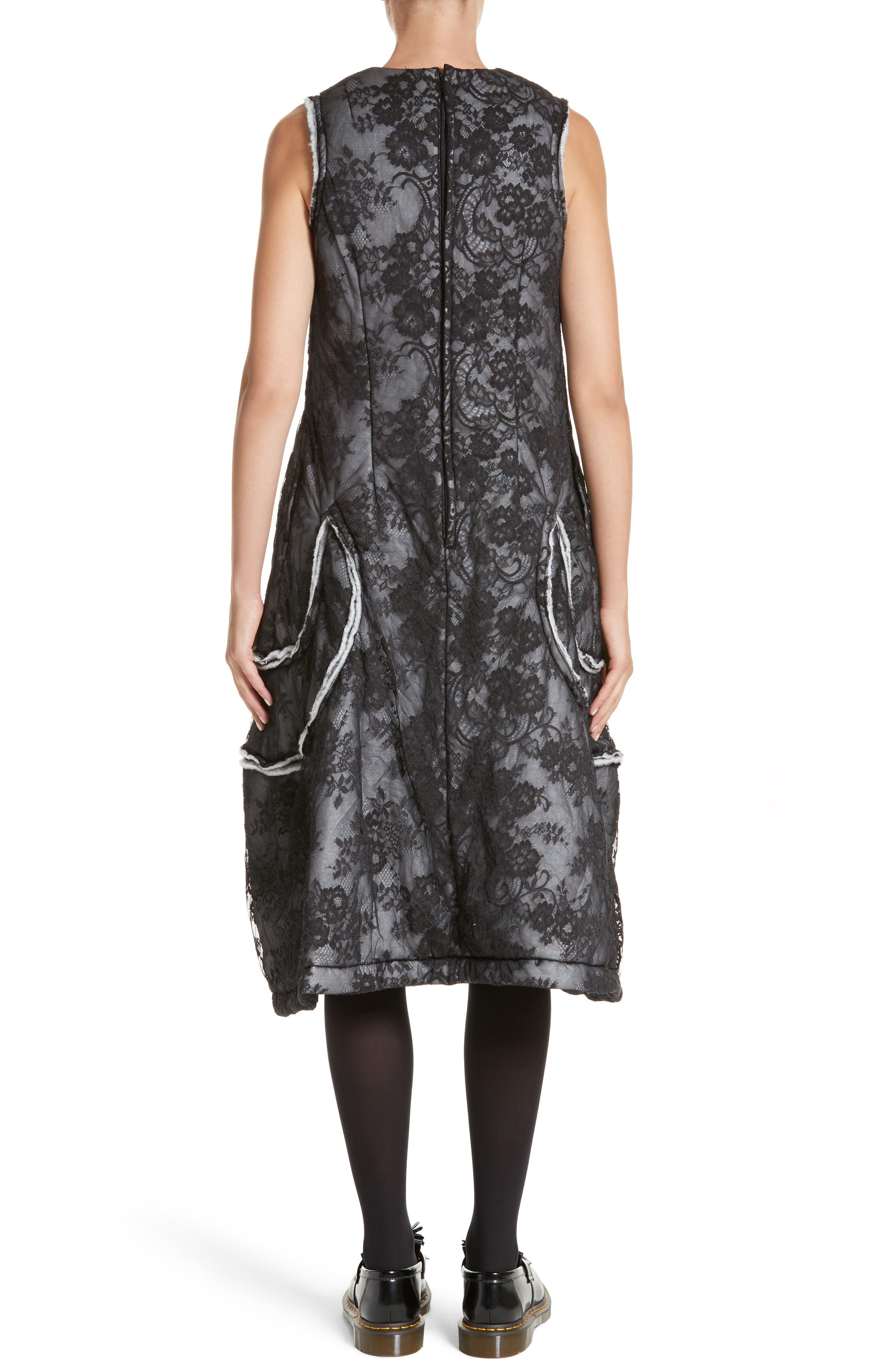 Floral Dress,                             Alternate thumbnail 2, color,                             Black/ Off White