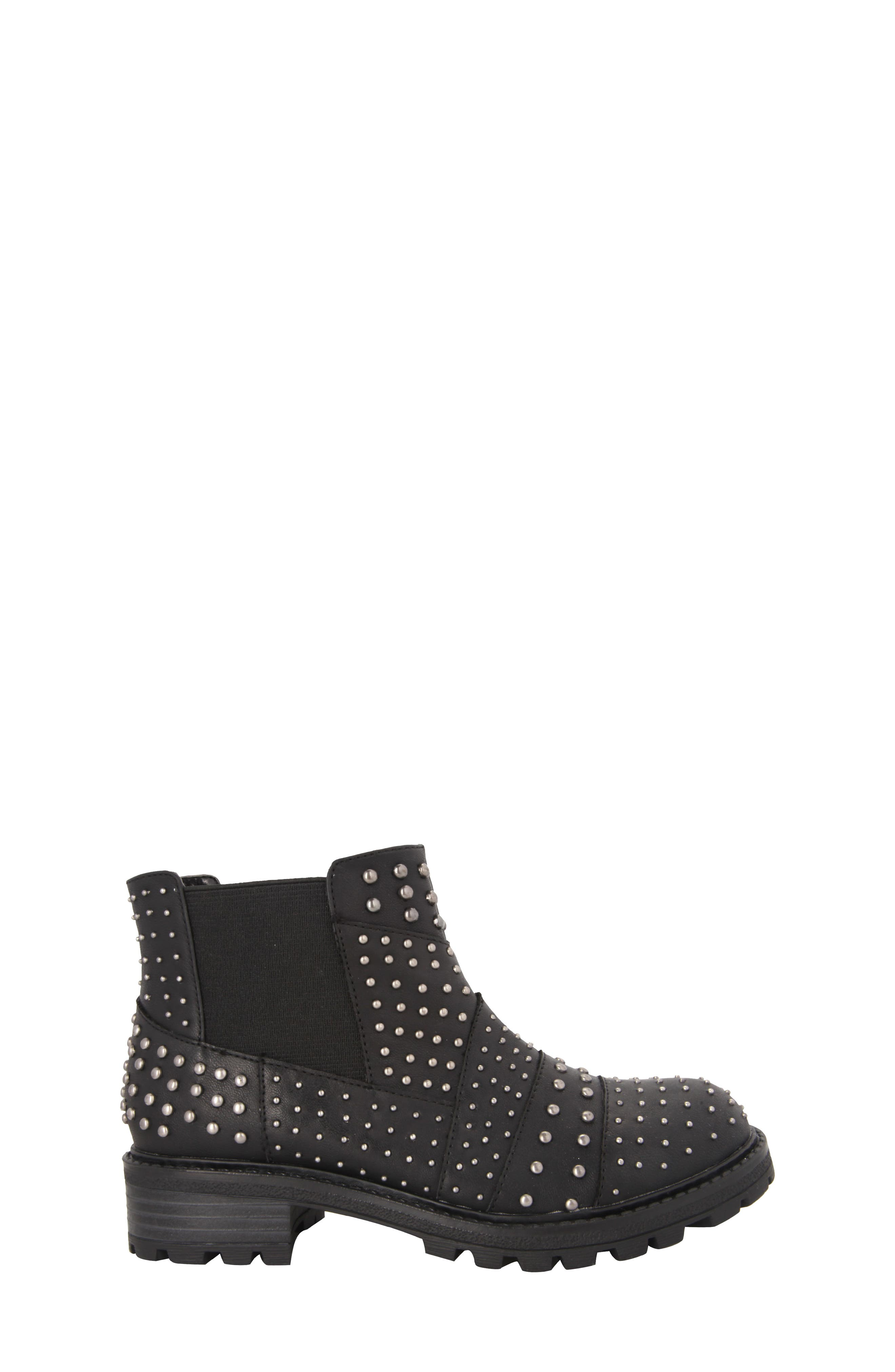 Dexy Studded Boot,                             Alternate thumbnail 3, color,                             Black Tumbled Leather