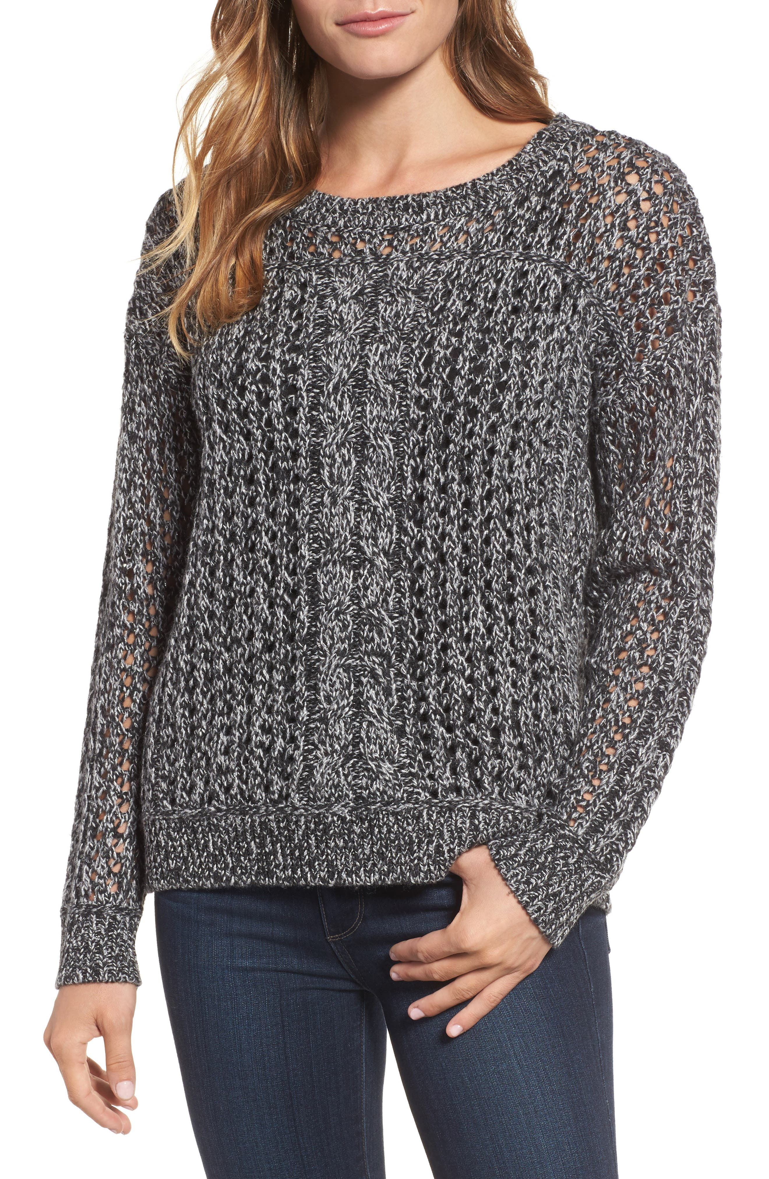 Cascade Cable Sparkle Crew Sweater,                             Main thumbnail 1, color,                             Charcoal Heather