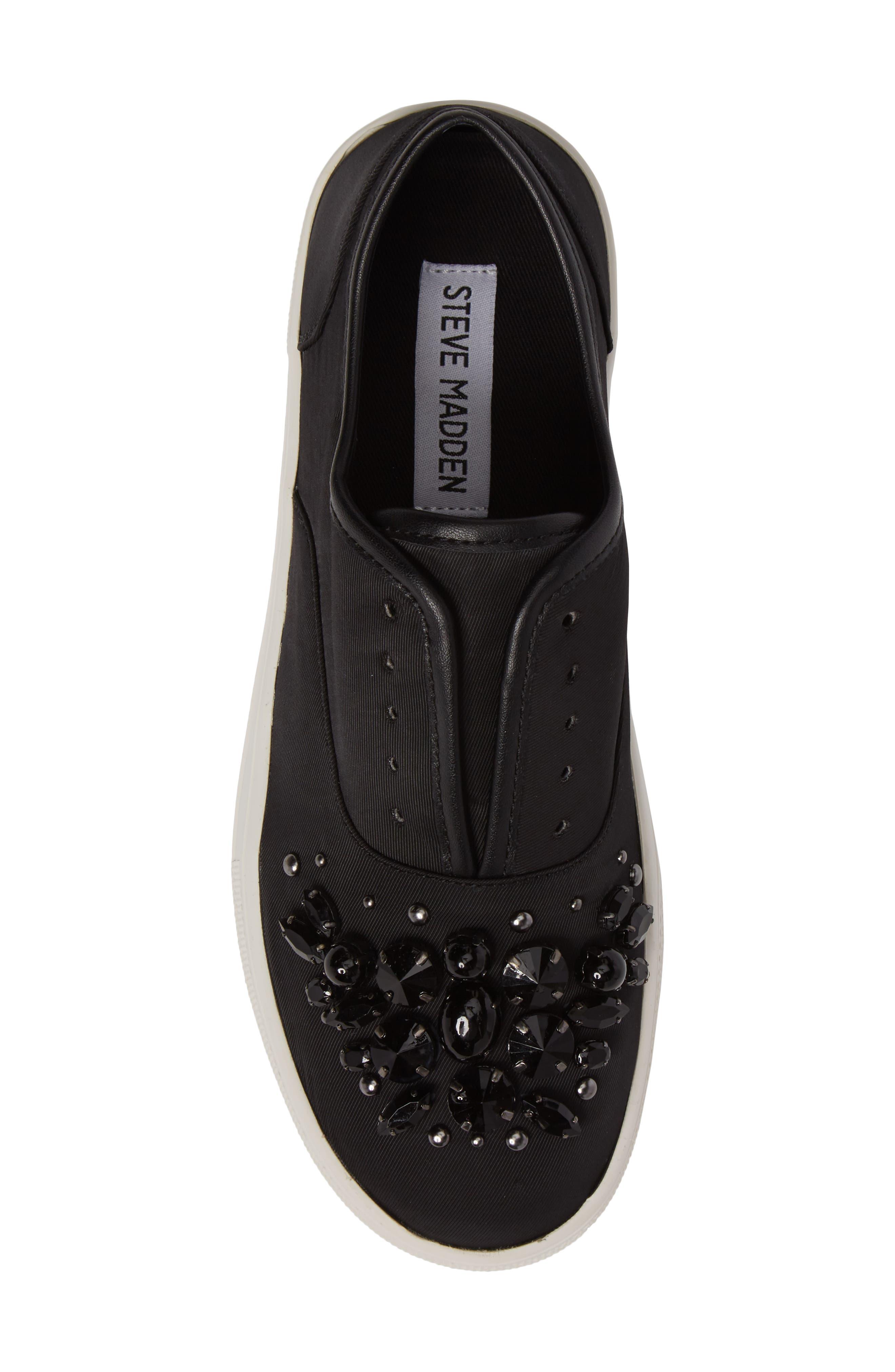 Passion Embellished Slip-On Platform Sneaker,                             Alternate thumbnail 5, color,                             Black