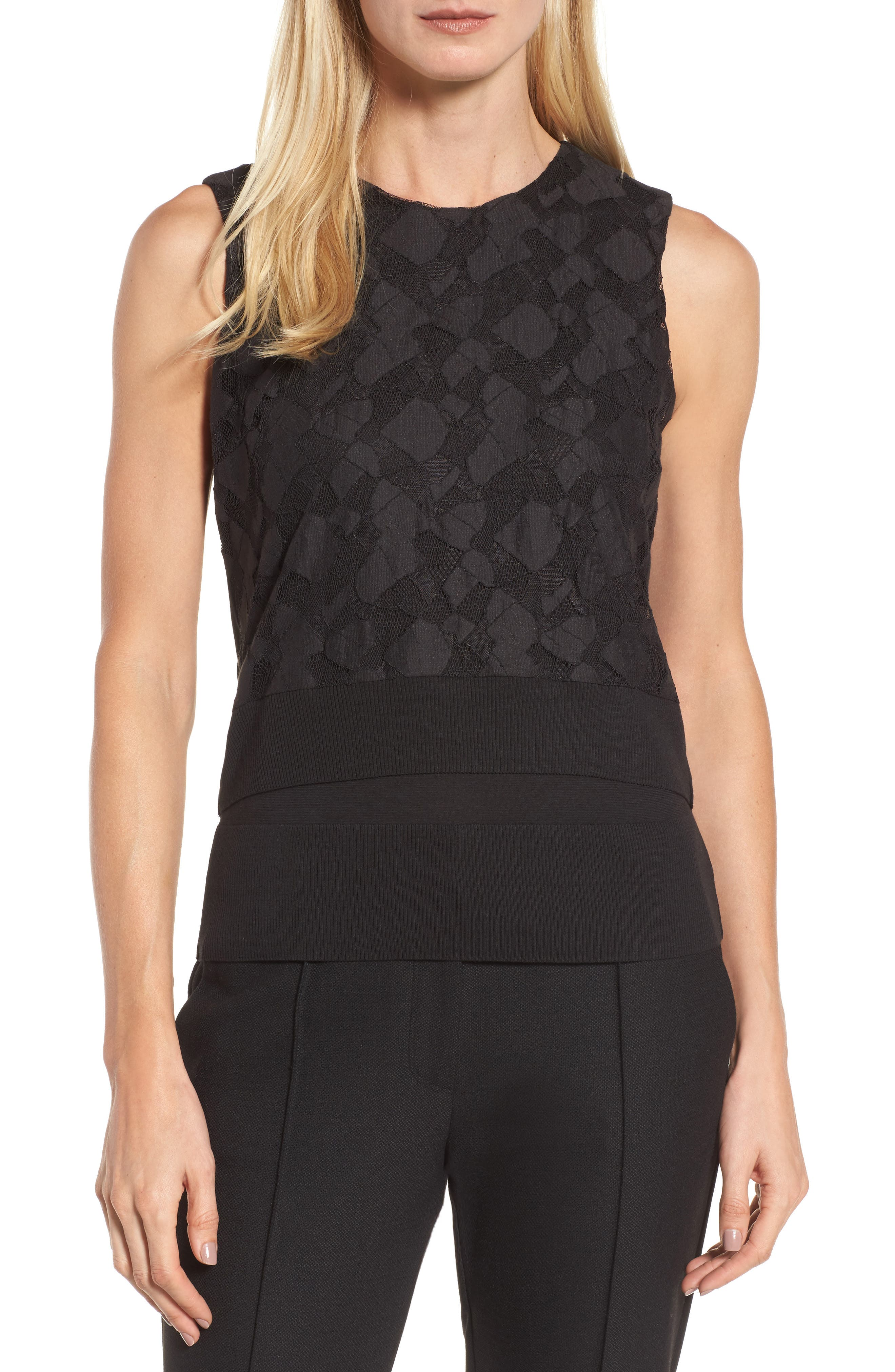 Elrica Lace Front Knit Top,                         Main,                         color, Black