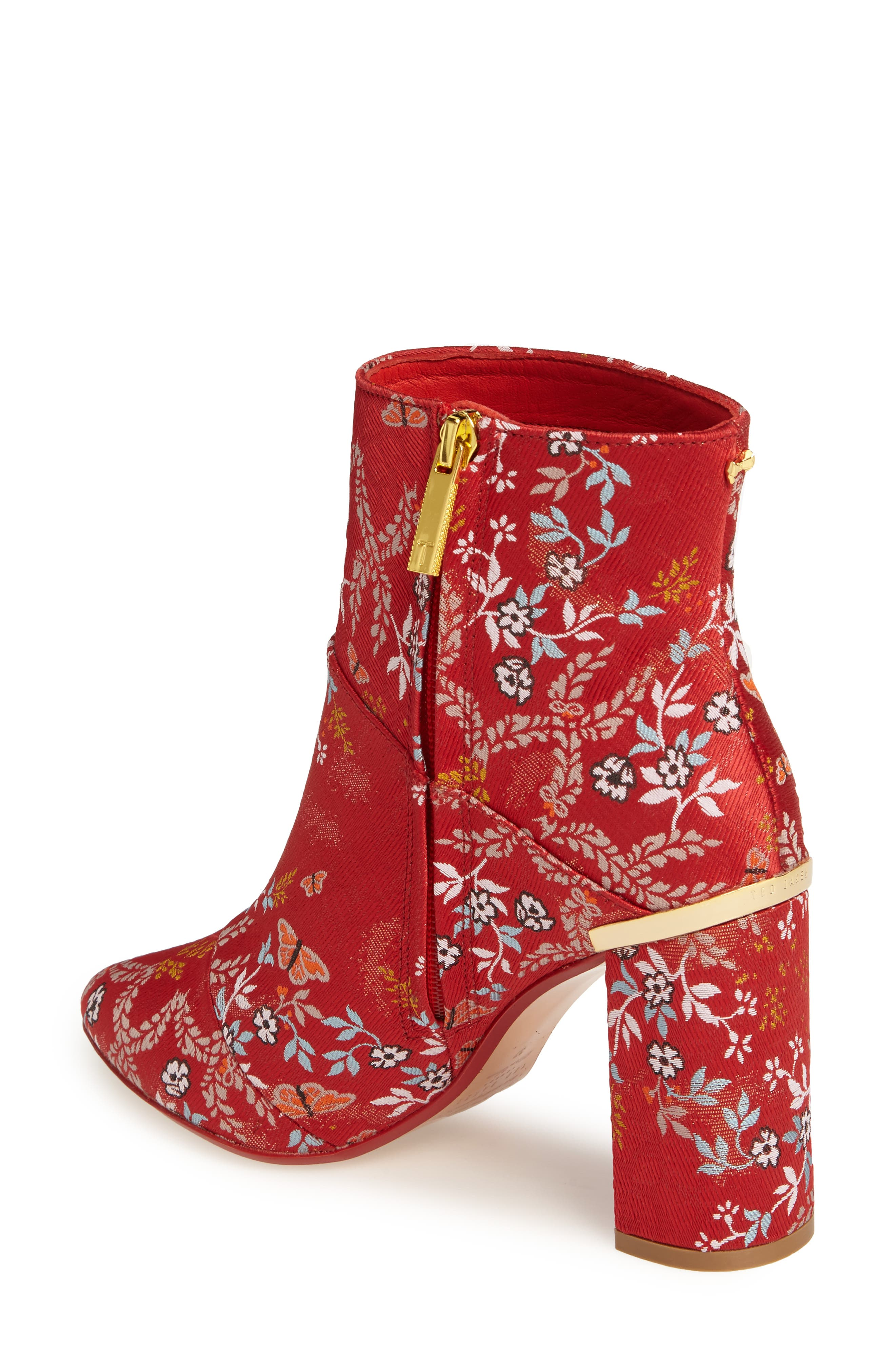 Ishbel Brocade Bootie,                             Alternate thumbnail 2, color,                             Red Kyoto Print