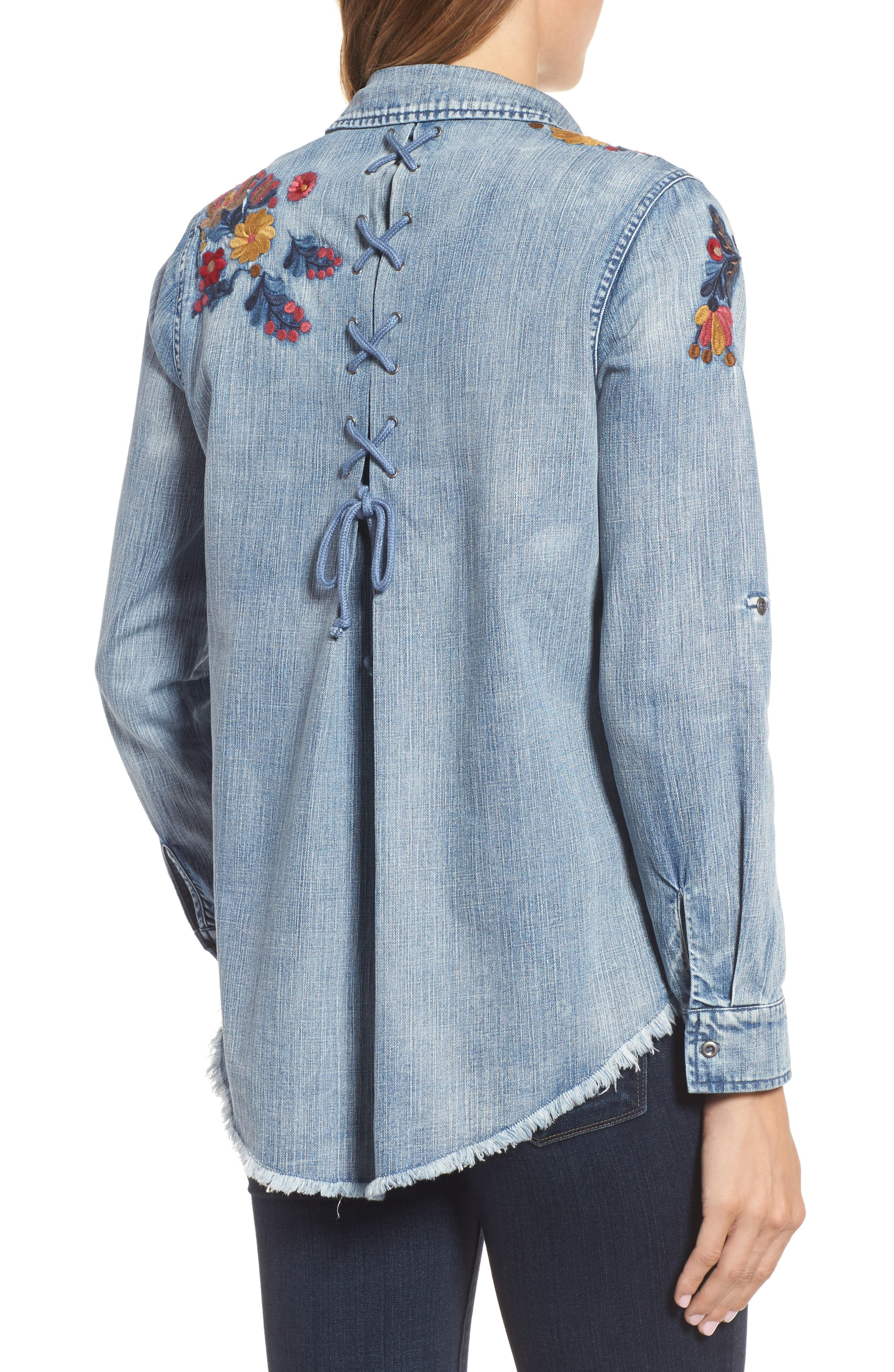 Alternate Image 2  - Billy T Roll Sleeve Embroidered Shirt