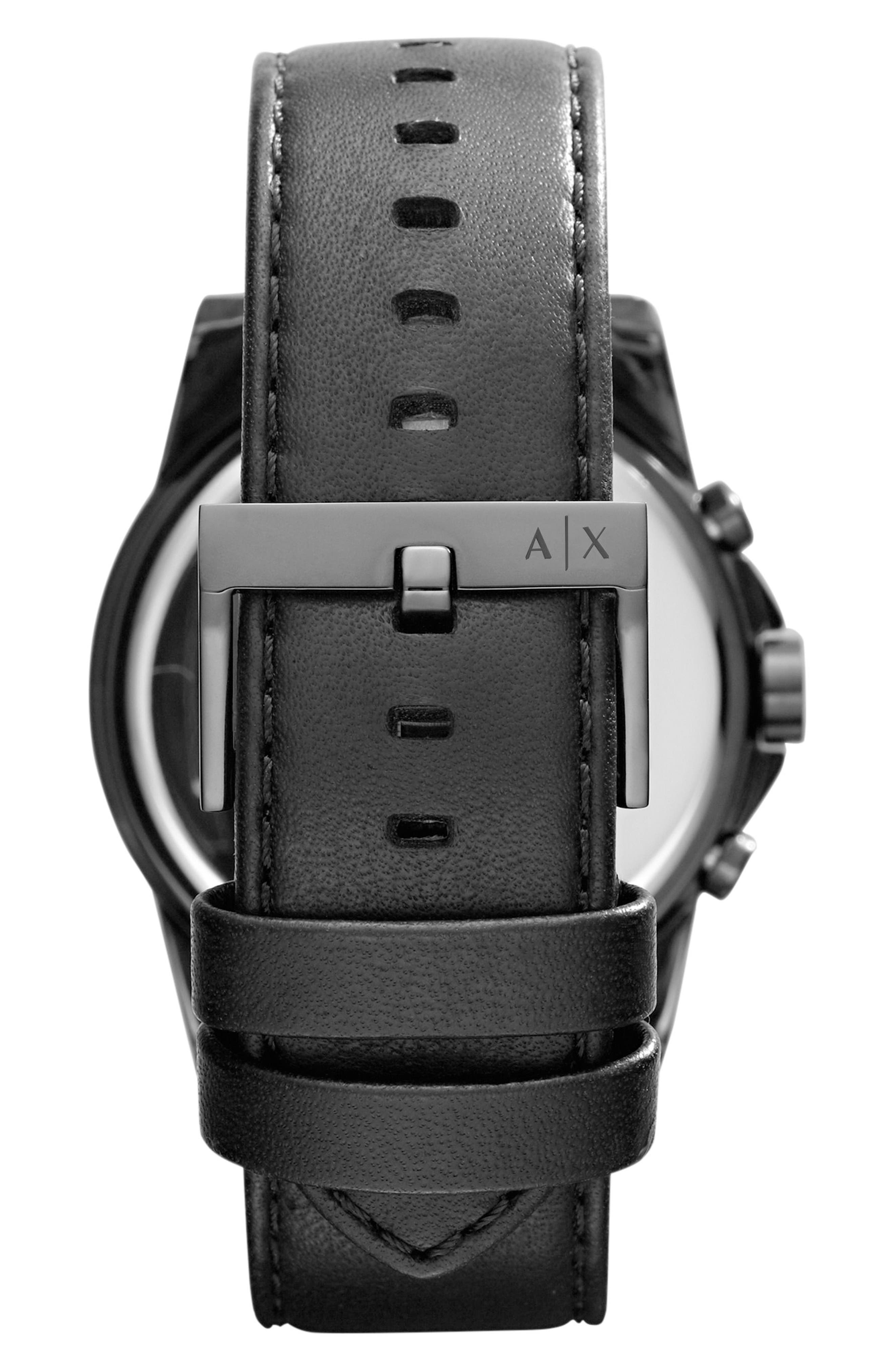 Alternate Image 2  - AX Armani Exchange Chronograph Leather Strap Watch