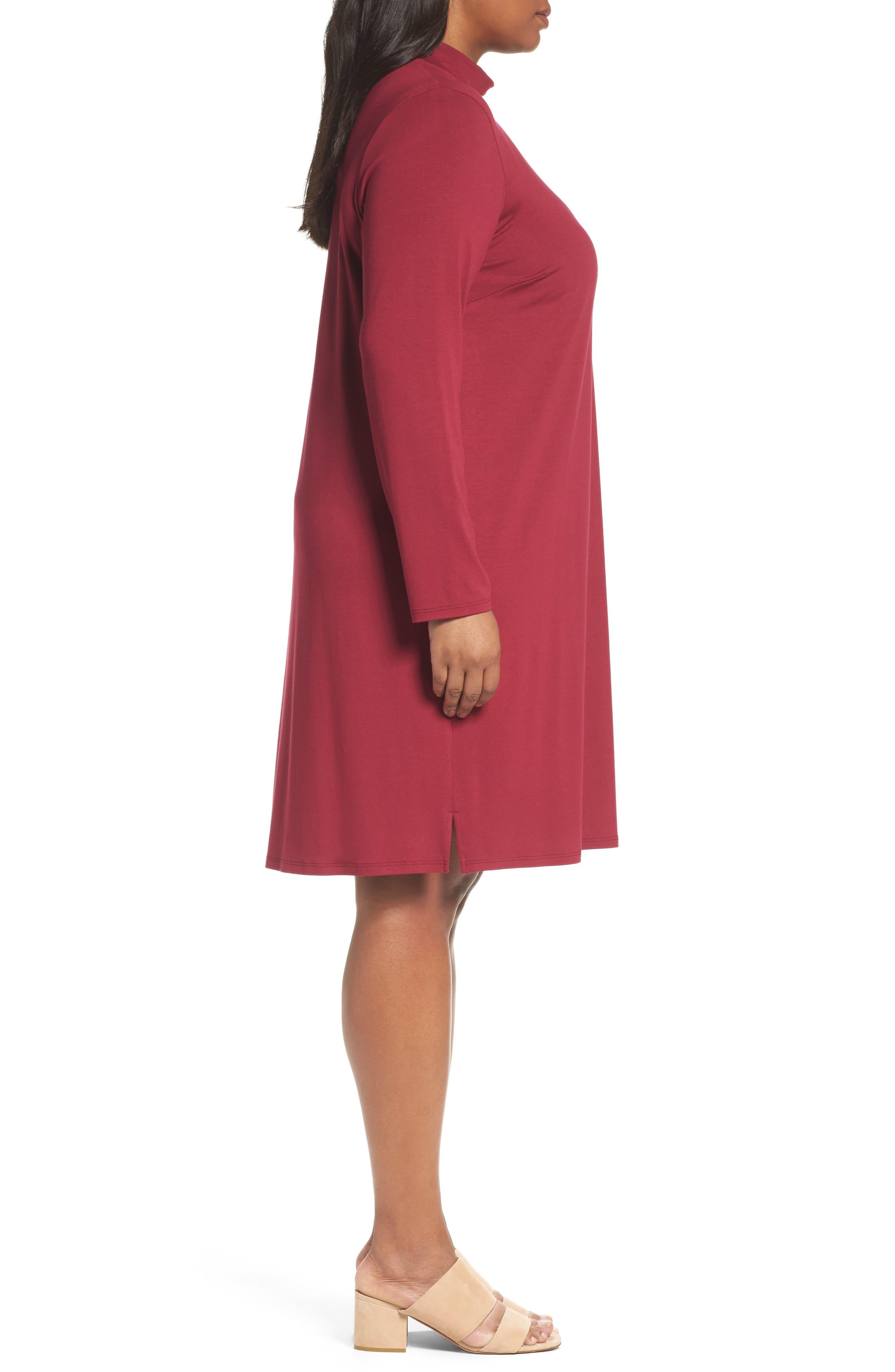 Mock Neck Shift Dress,                             Alternate thumbnail 3, color,                             Hibiscus