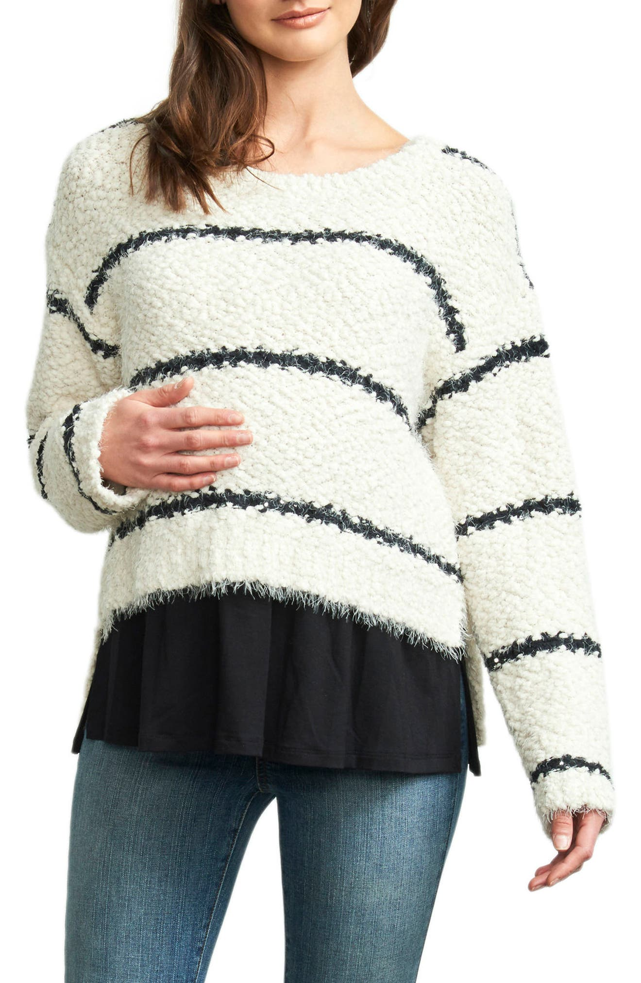 High/Low Layered Maternity Sweater,                         Main,                         color, Ivory