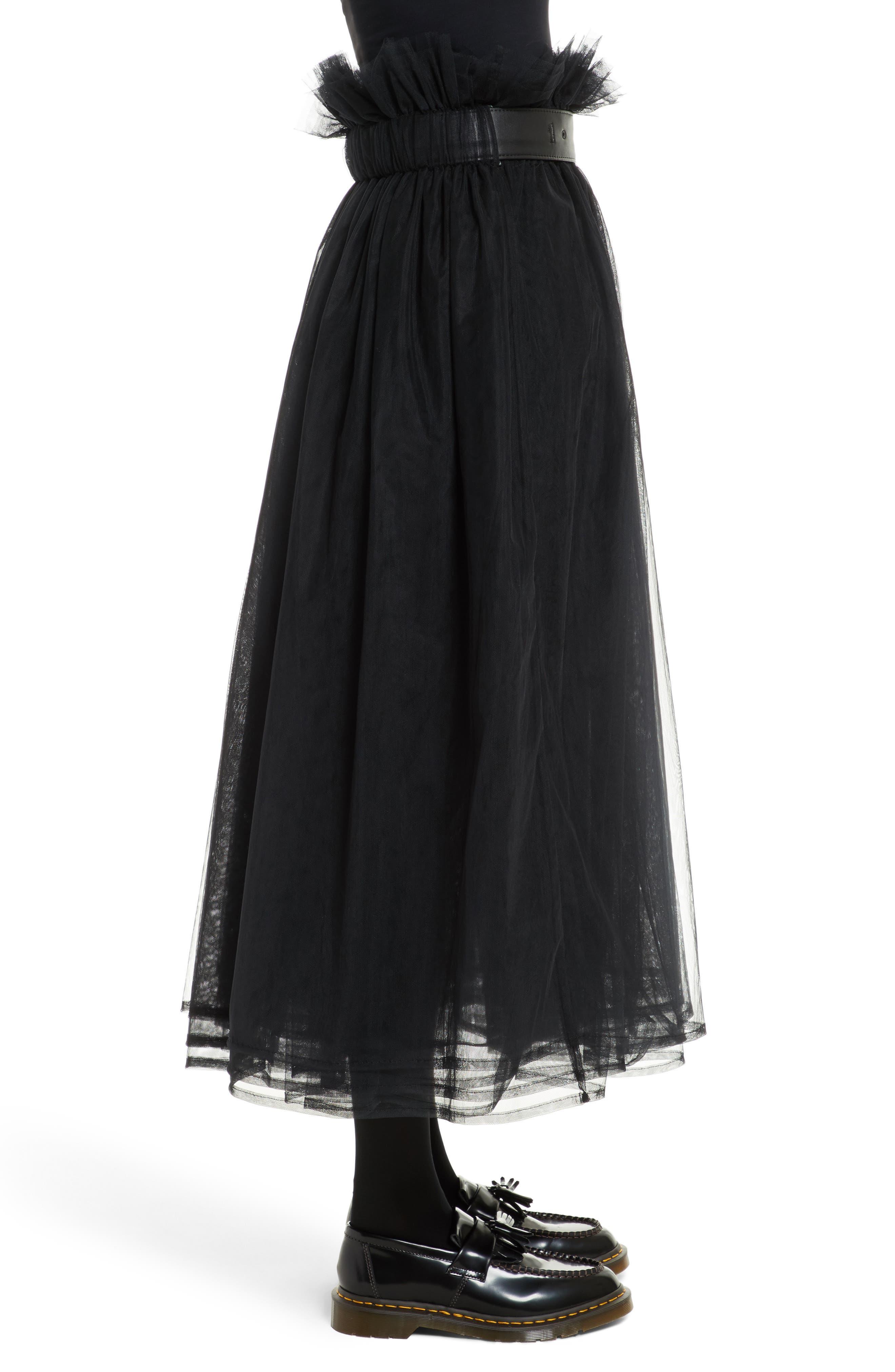 Tulle Midi Skirt,                             Alternate thumbnail 3, color,                             Black