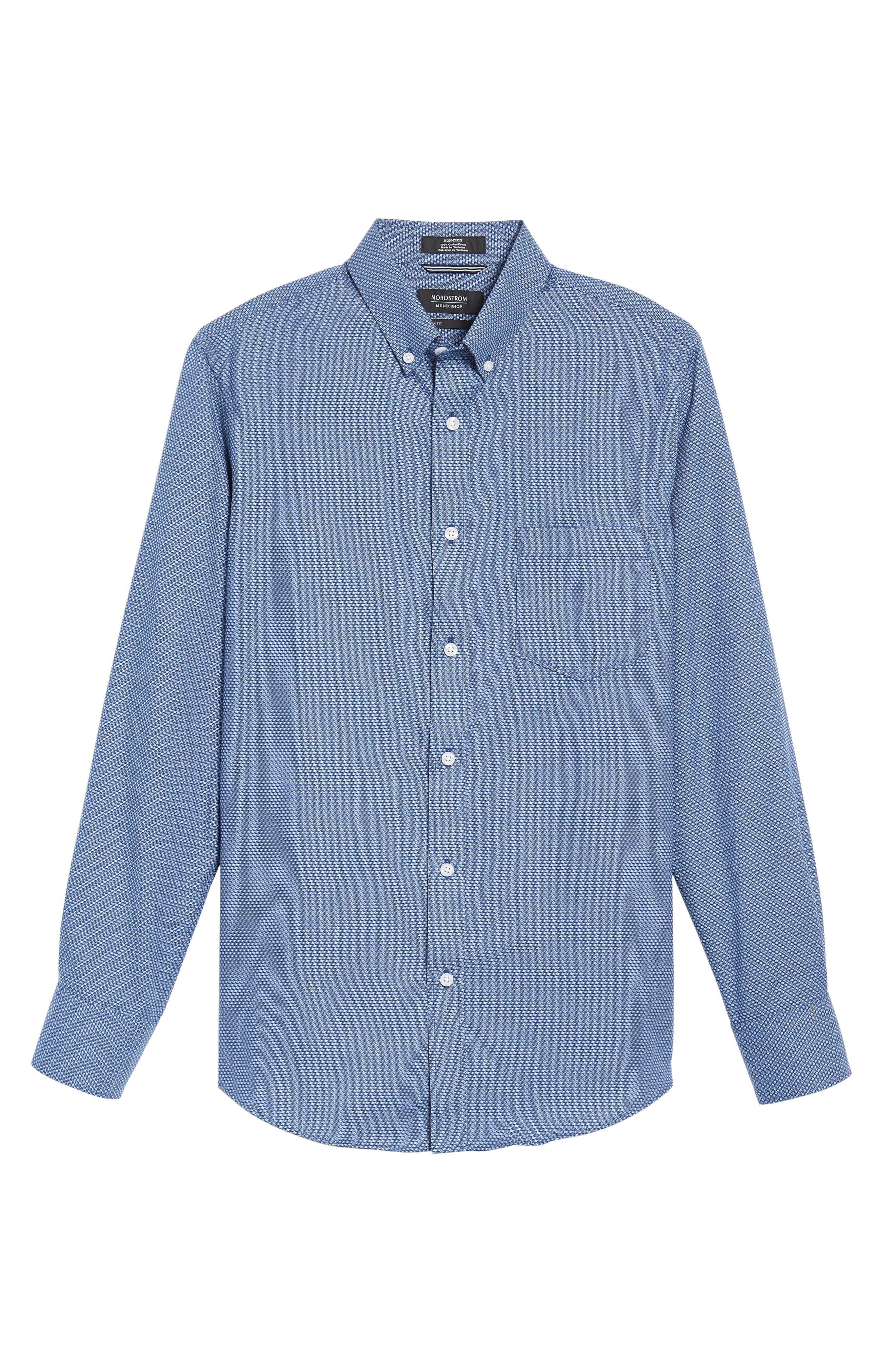 Non-Iron Regular Fit Print Sport Shirt,                             Alternate thumbnail 6, color,                             Blue Estate Square Dobby